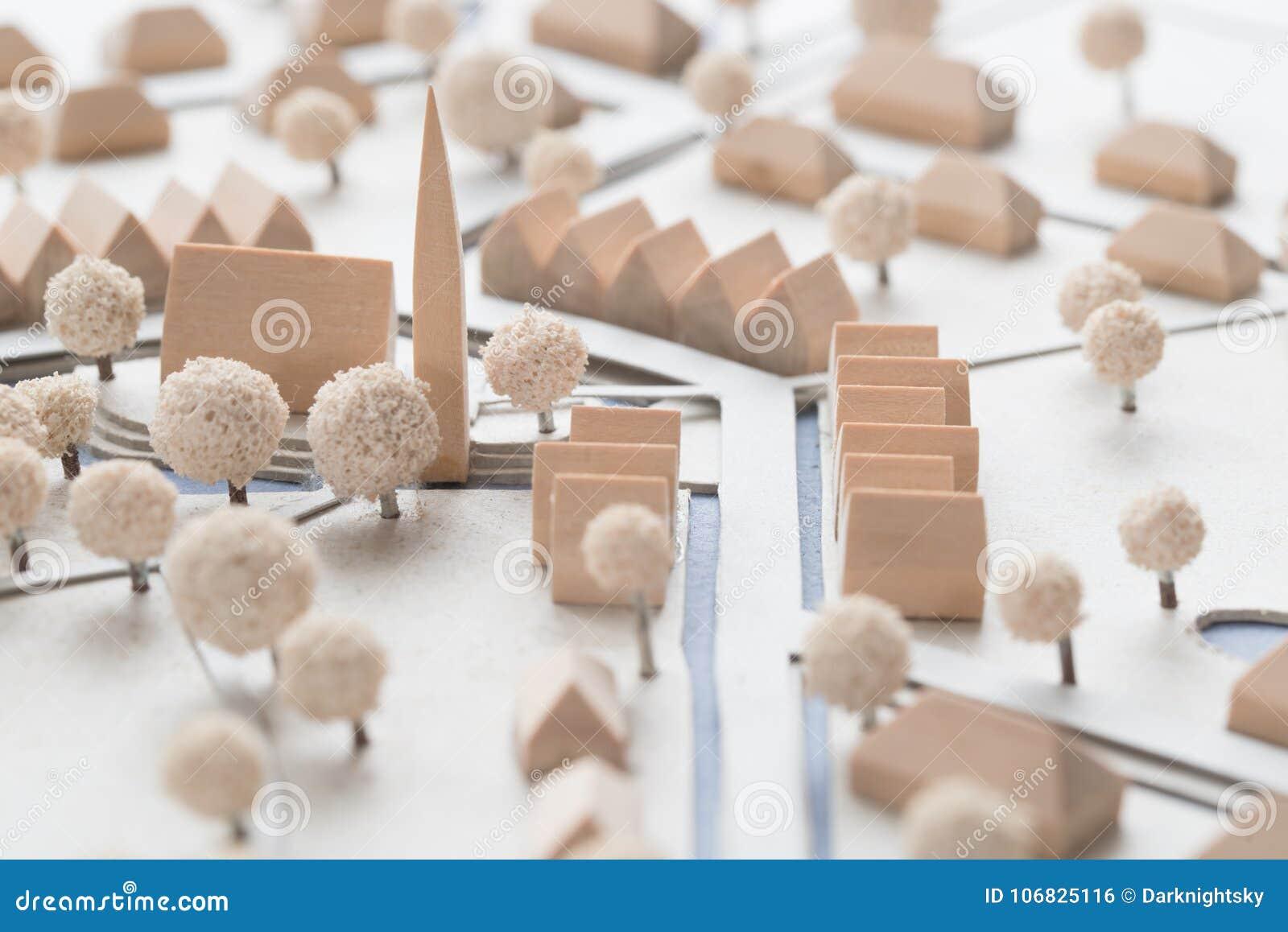 Détail d un modèle architectural d un village avec l église
