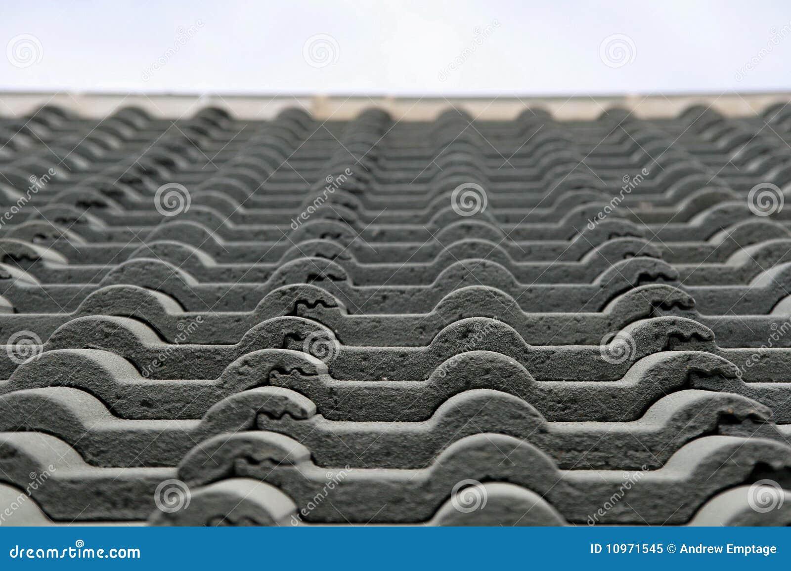 Détail d un toit carrelé