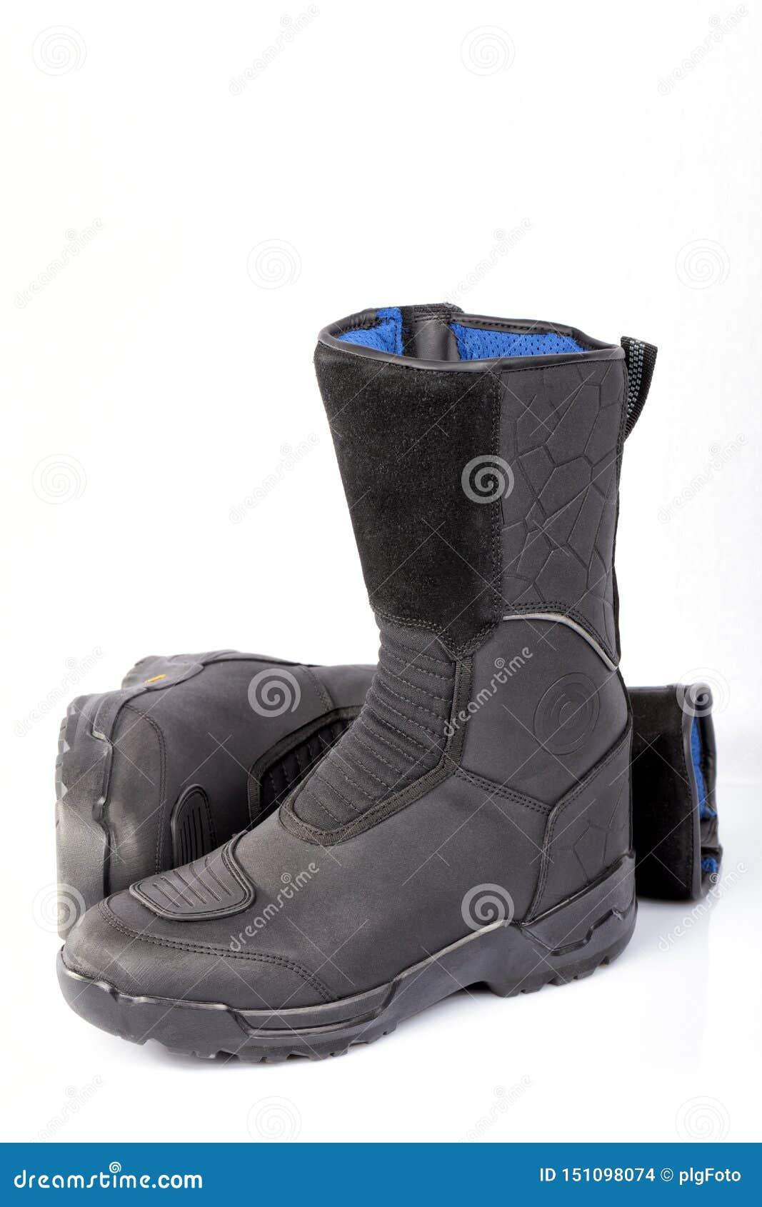 Détail d une paire de bottes de moto d isolement