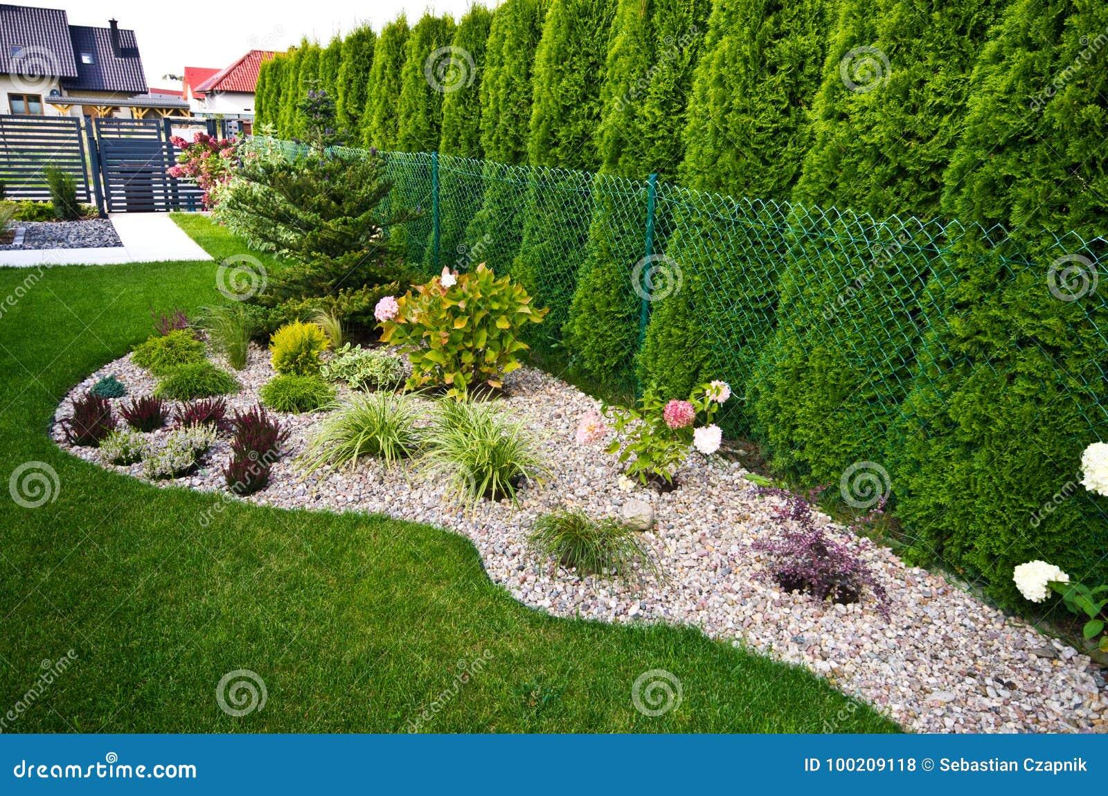 Detail De Jardin Lit De Fleur Avec Des Cailloux Et Des Usines