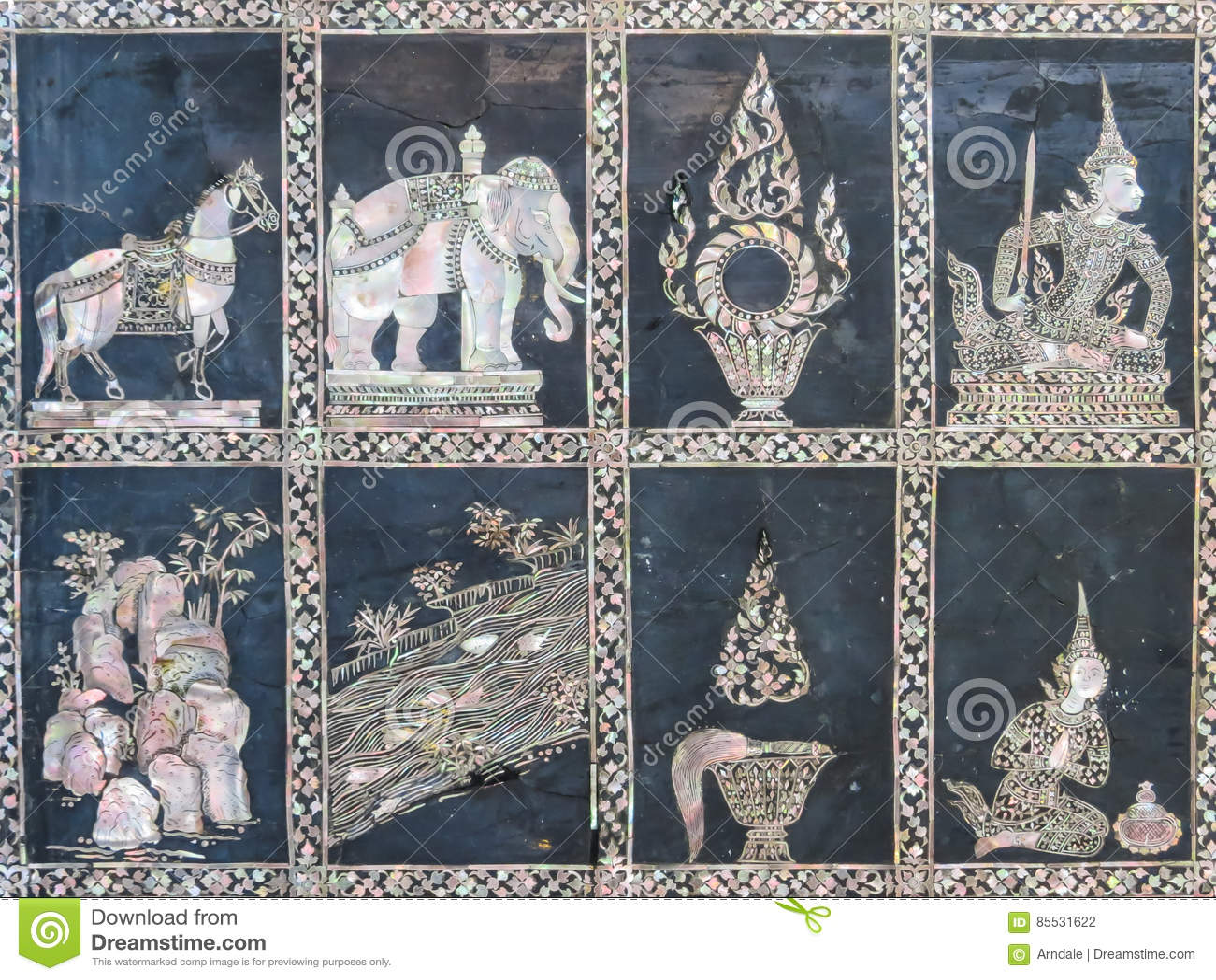 Détail de mosaïque nacreous dans Wat Pho Temple antique