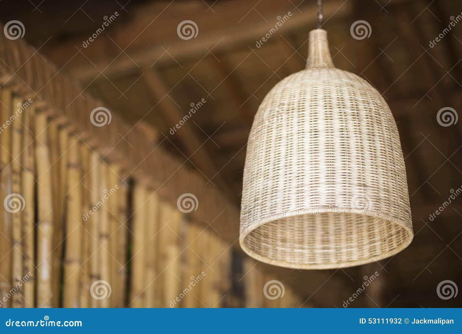 Détail en bambou naturel d abat-jour de conception intérieure