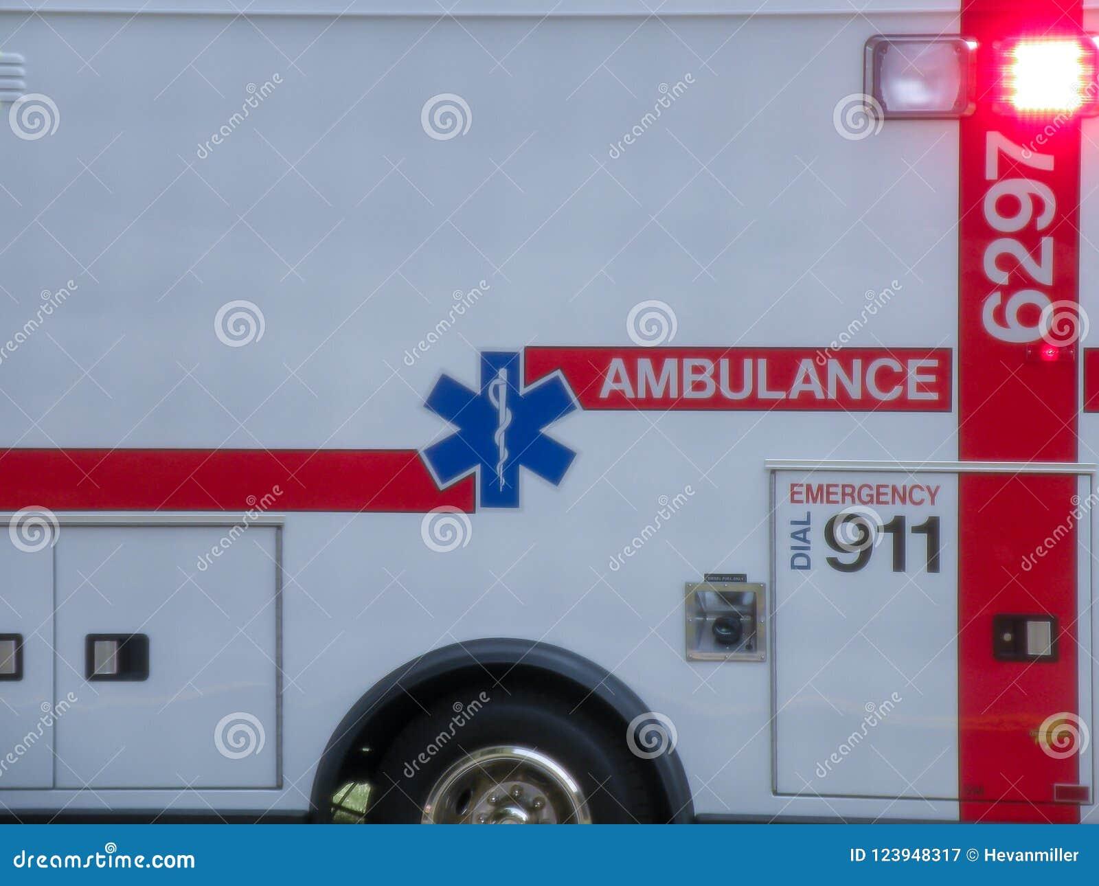 Détail haut étroit d ambulance