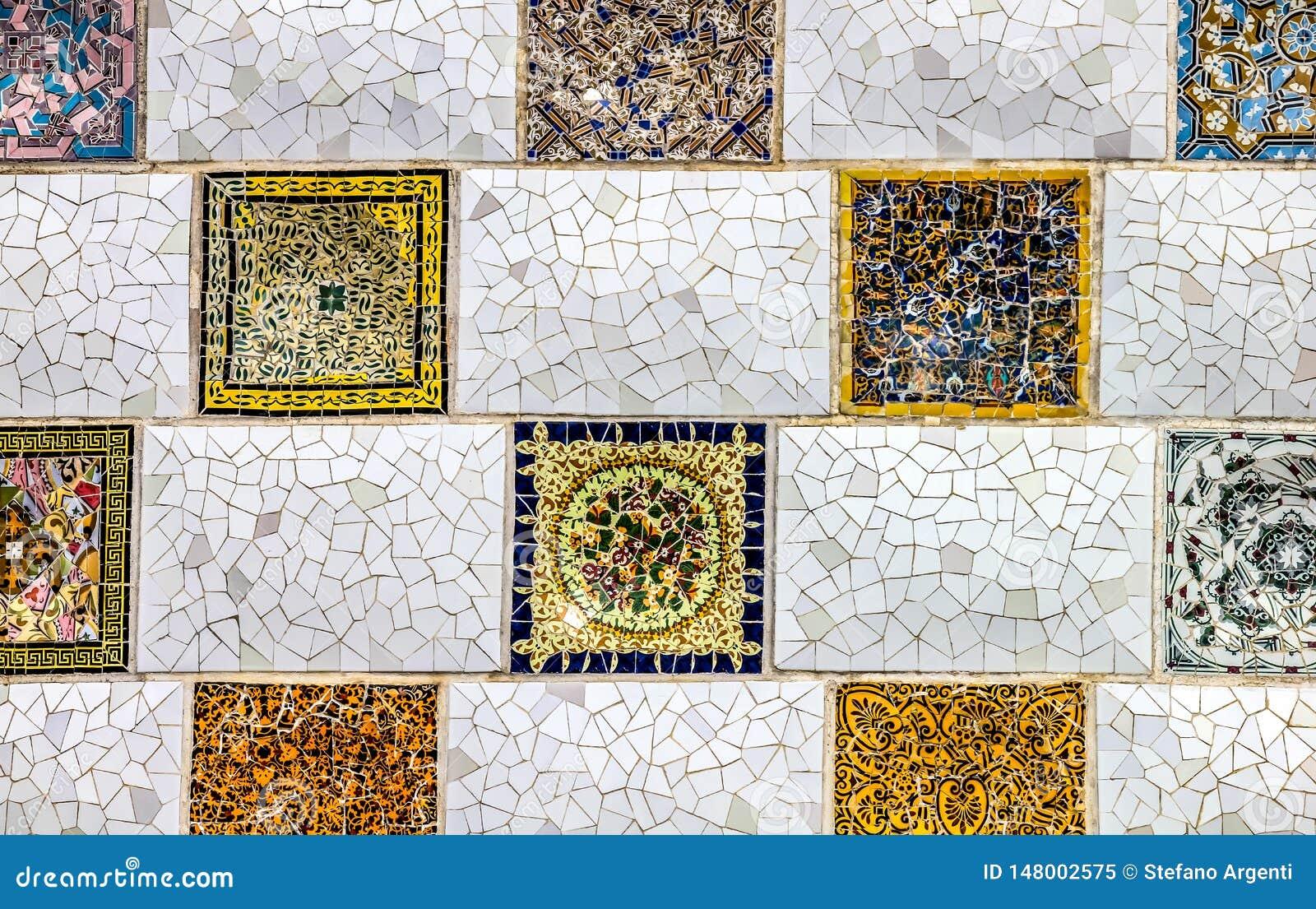 Détail haut étroit d une mosaïque géométrique