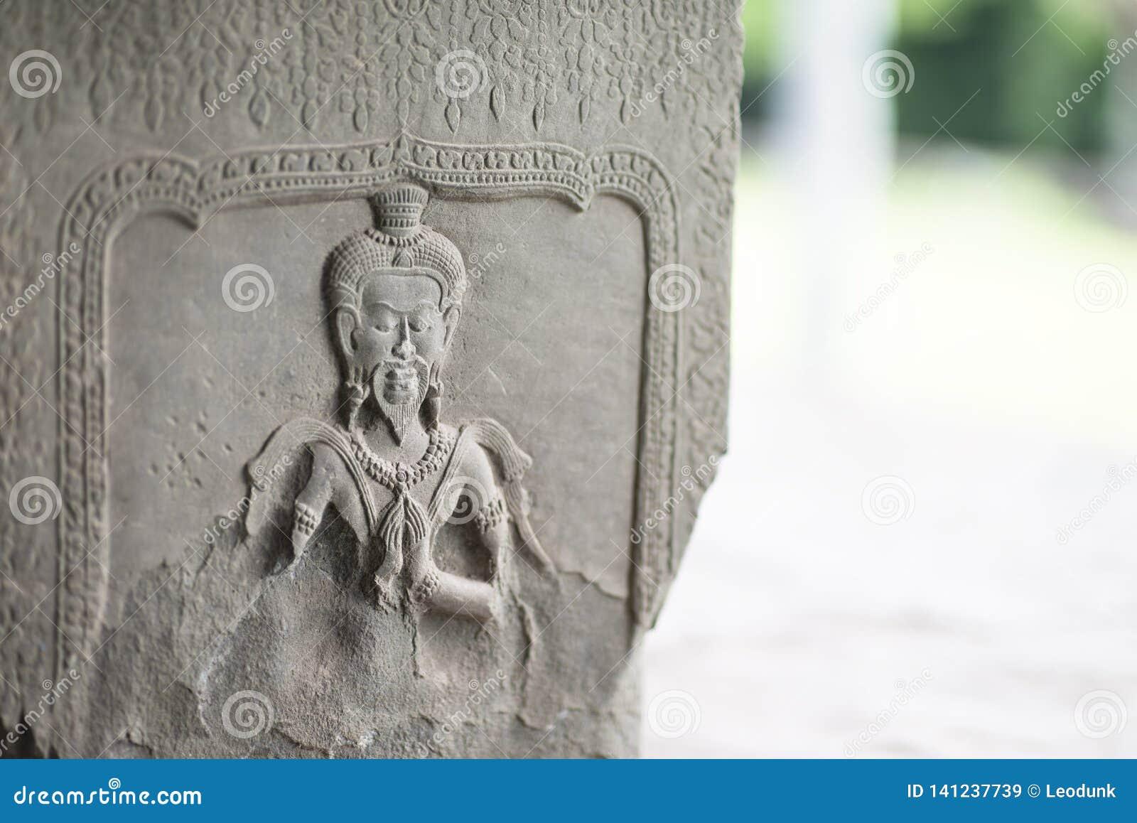Détail haut étroit des découpages de soulagement dans le temple d Angkor Vat, Siem Reap, Cambodge