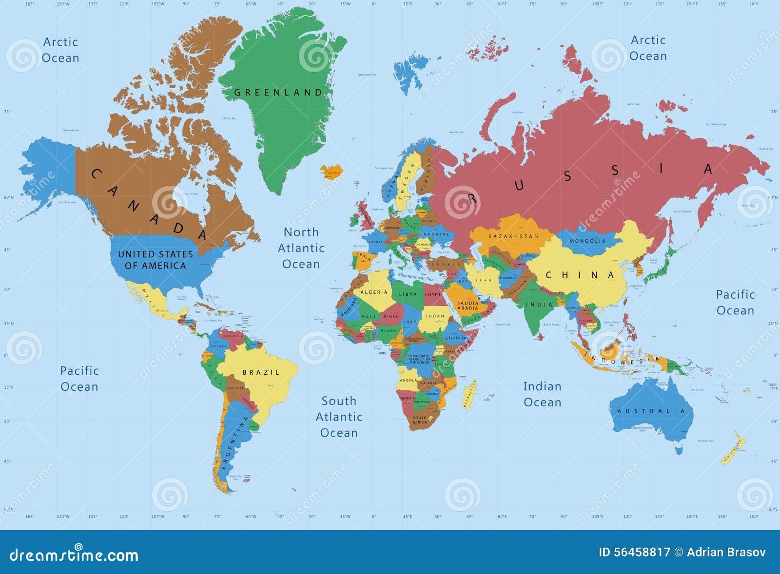 Détaillé politique de carte du monde