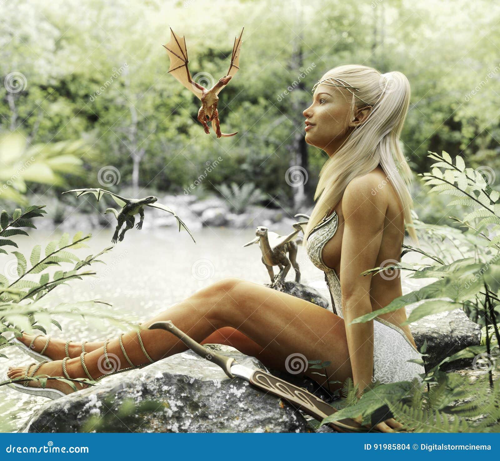 Détente femelle blonde élégante d Elven par un étang mythique de forêt avec ses dragons de bébé Imagination mythique