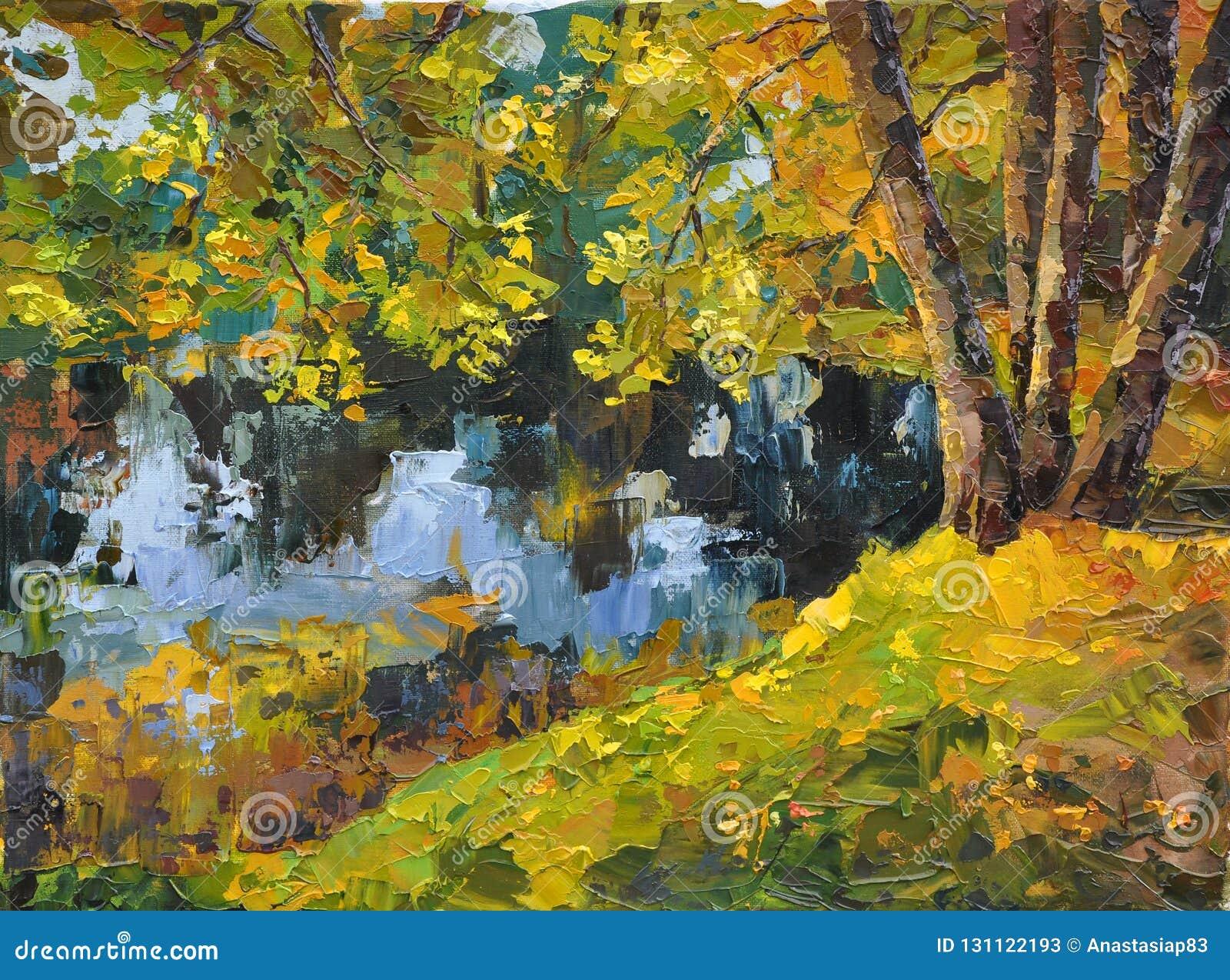 Día asoleado del otoño en el lago