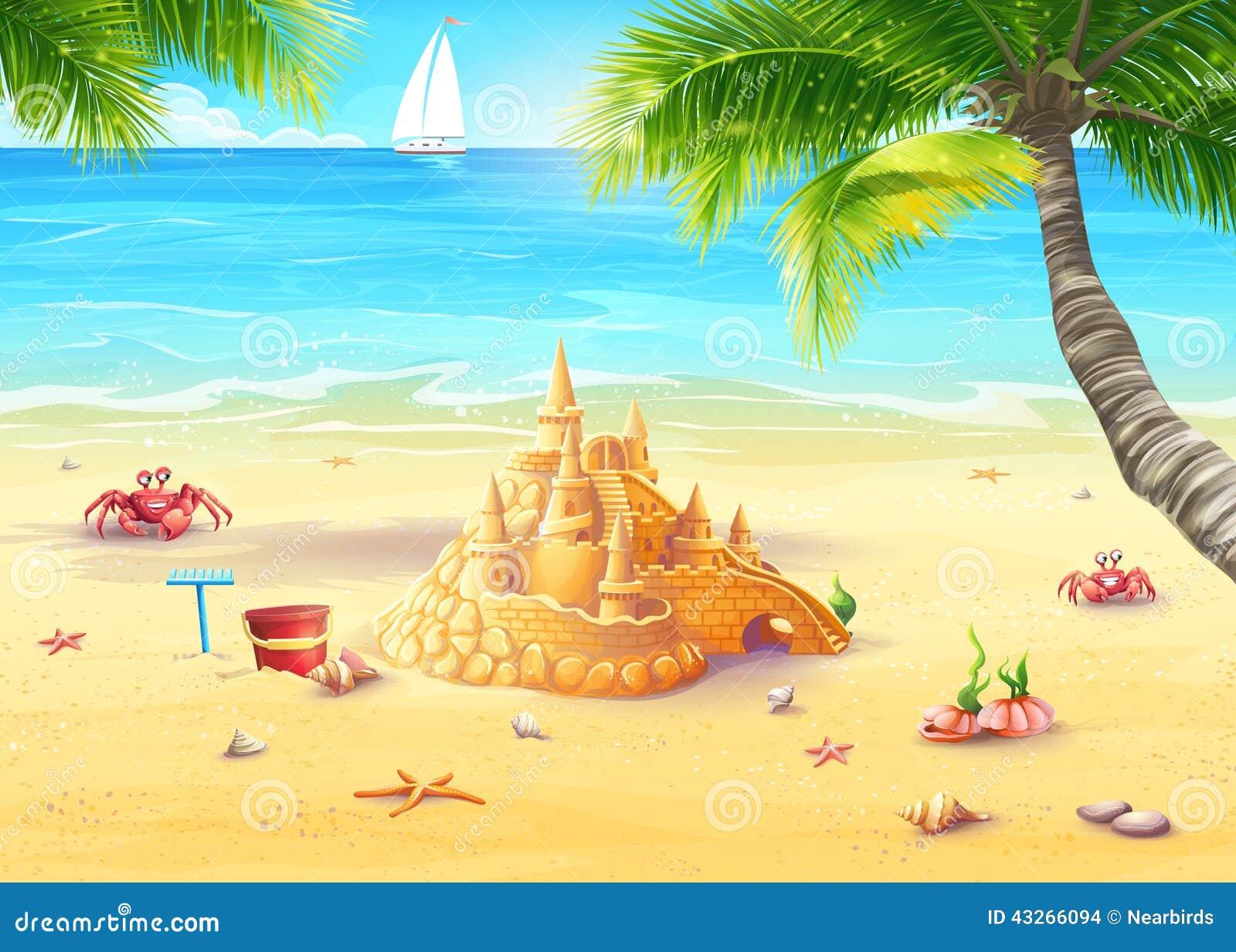 Día de fiesta del ejemplo por el mar con el castillo de la arena y las felices setas
