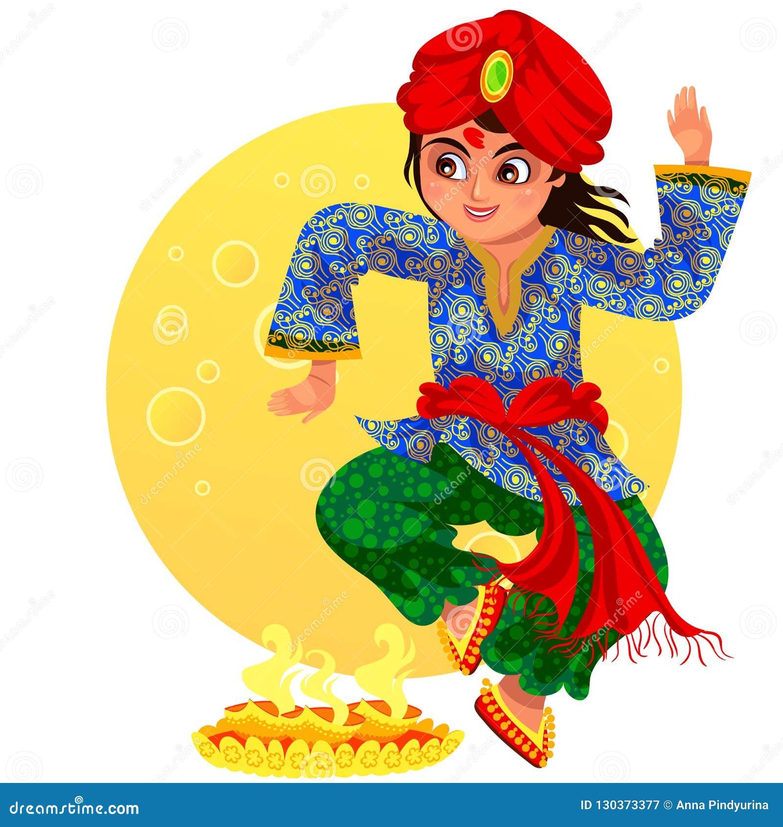 Día de fiesta de Diwali y danza del ritula de la demostración del muchacho