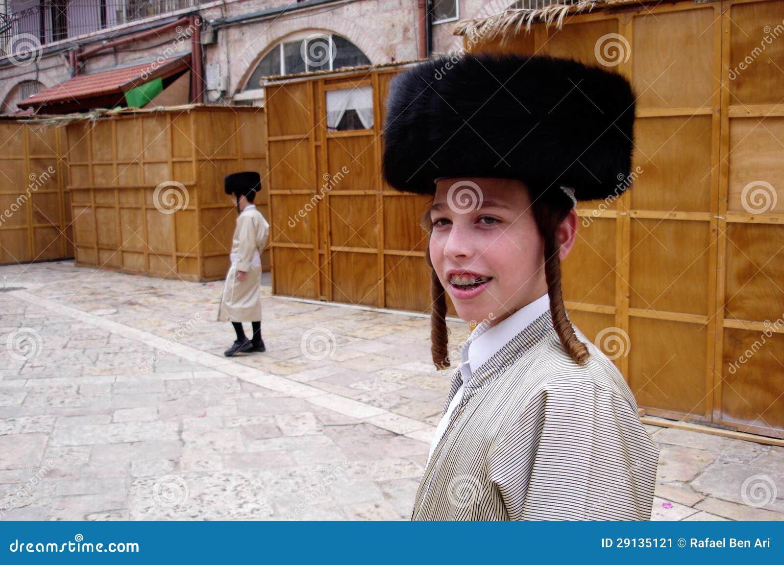Día de fiesta judío de Sukkot en Mea Shearim Jerusalén Israel.