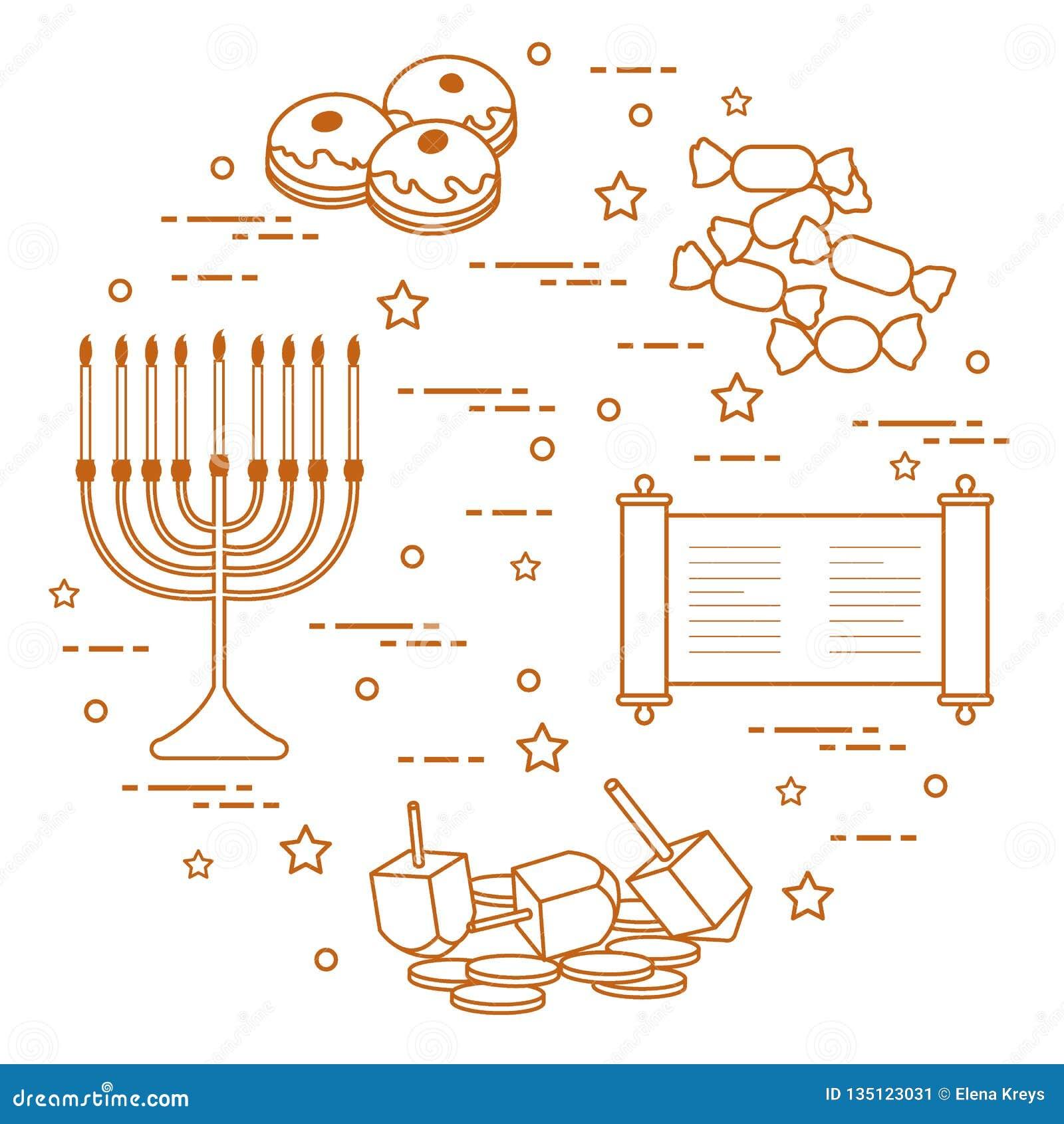 Día de fiesta judío Jánuca: dreidel, sivivon, menorah, monedas, anillos de espuma y otro