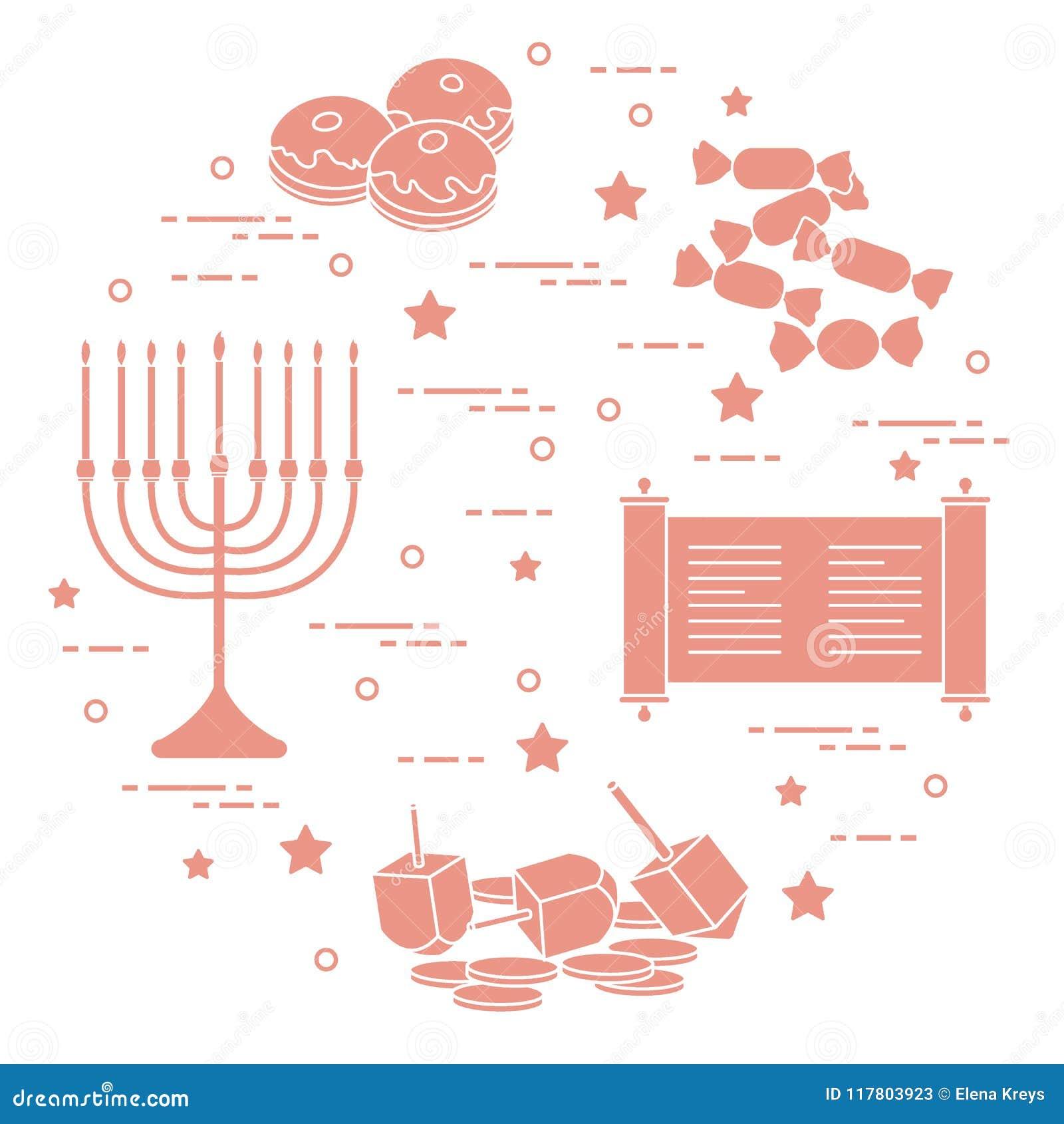 Día de fiesta judío Jánuca: dreidel, sivivon, menorah, monedas, buñuelo