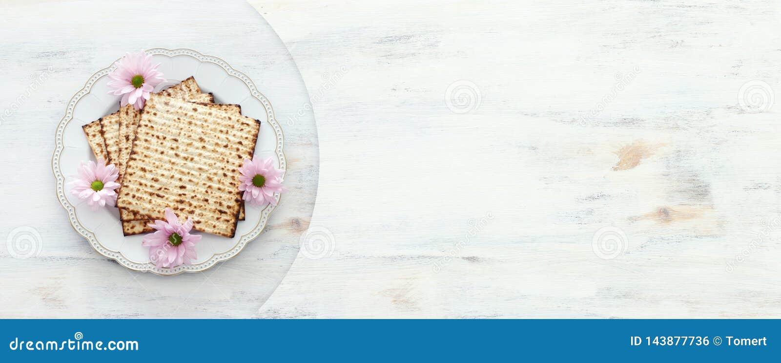 Día de fiesta judío de la pascua judía del concepto de la celebración de Pesah Visión superior, endecha plana