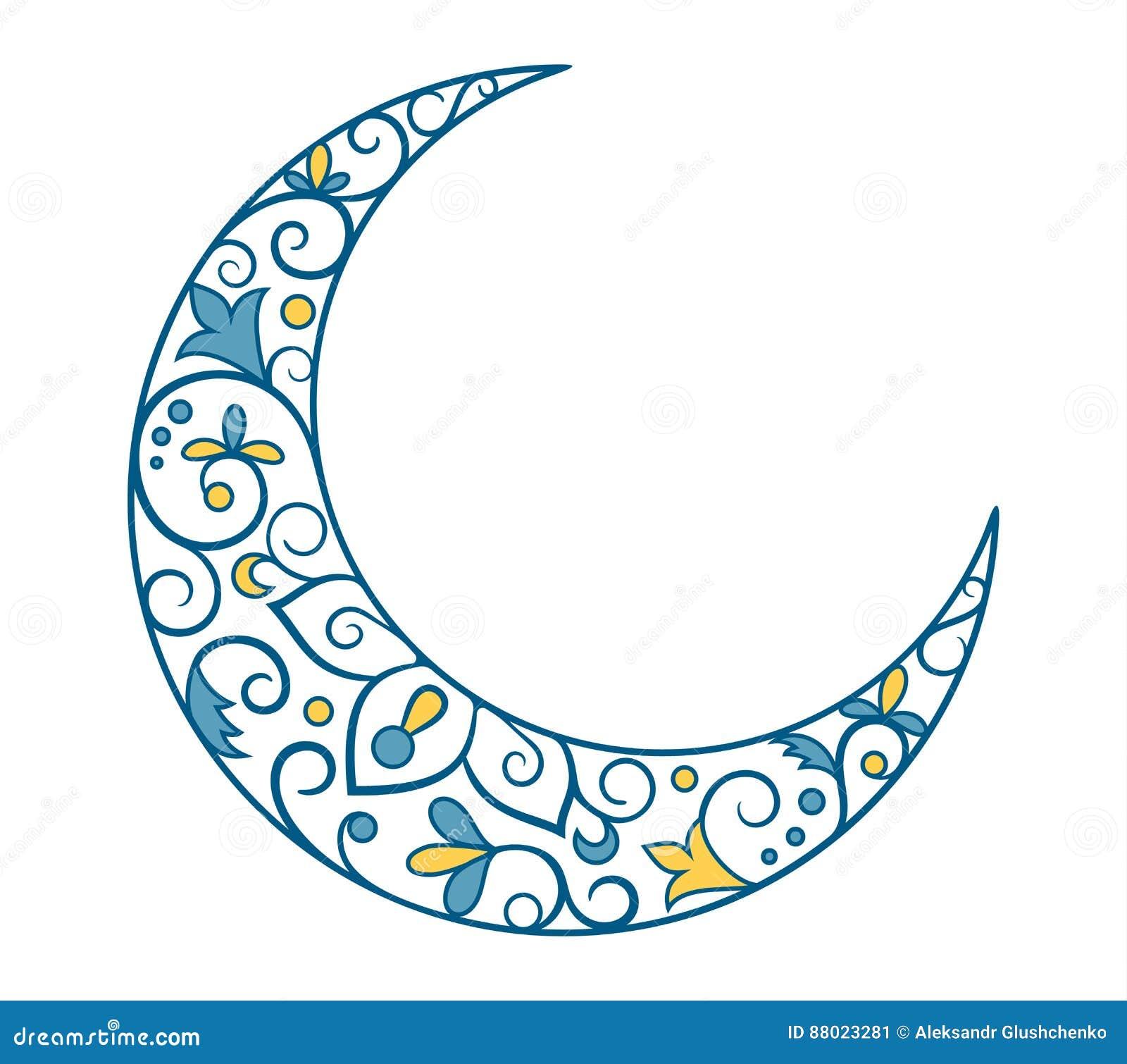Día de fiesta musulmán Ramadan Kareem Crescent Moon Ornament Icon Sign I