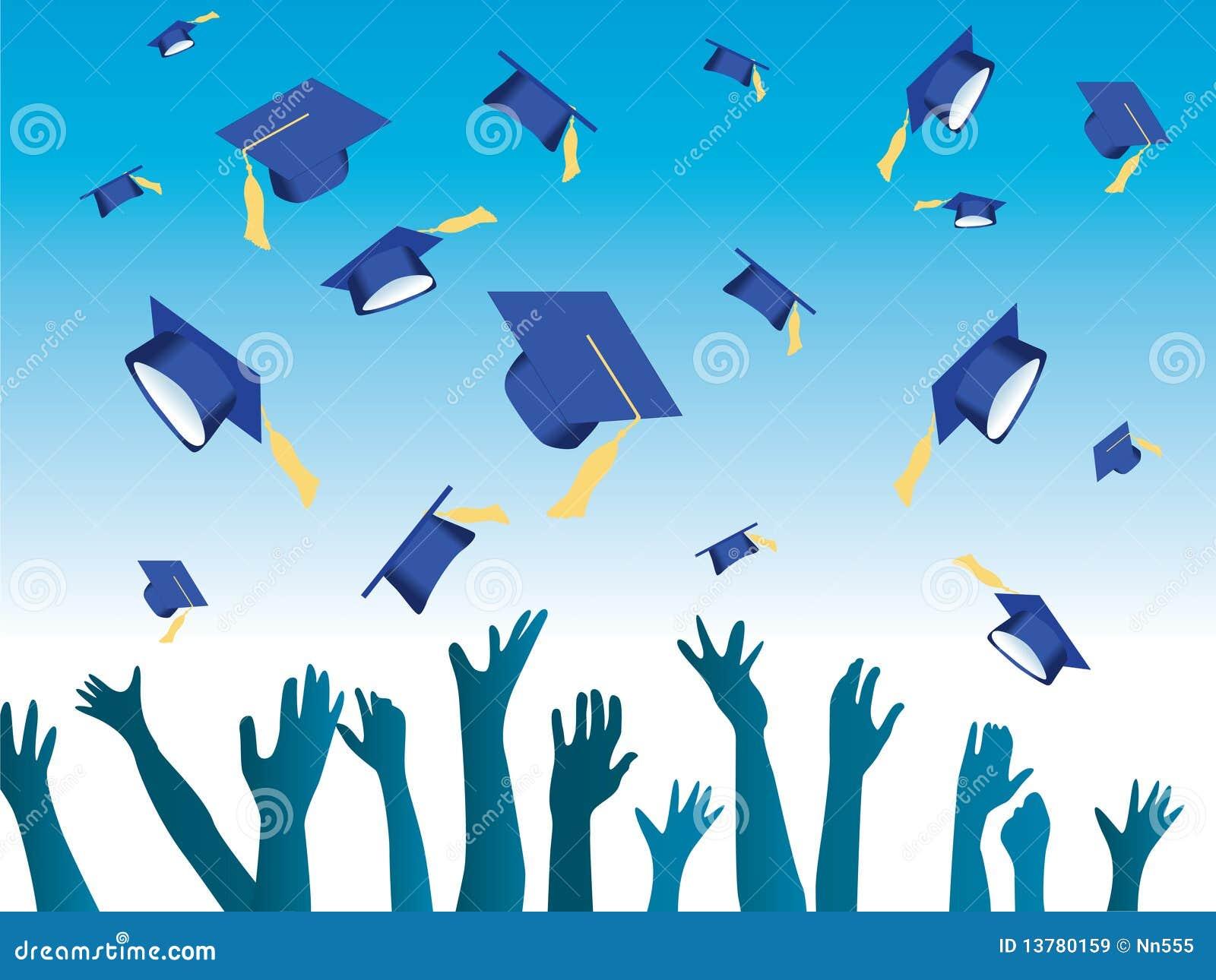Throwing Graduation Caps Vector