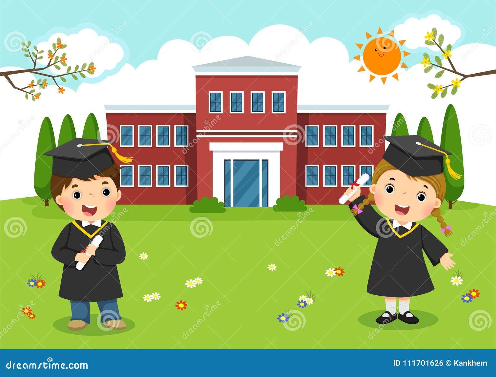 Día de graduación feliz La escuela embroma la graduación delante de la escuela