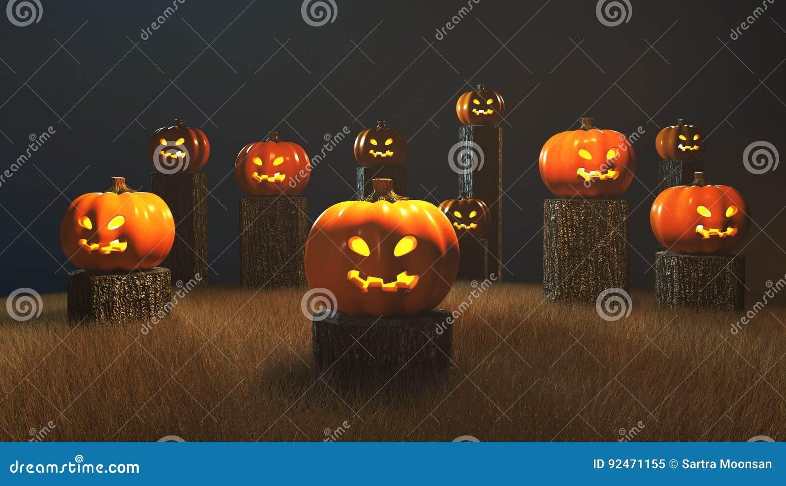 día de halloween, 3d representación, calabazas que se sientan en el