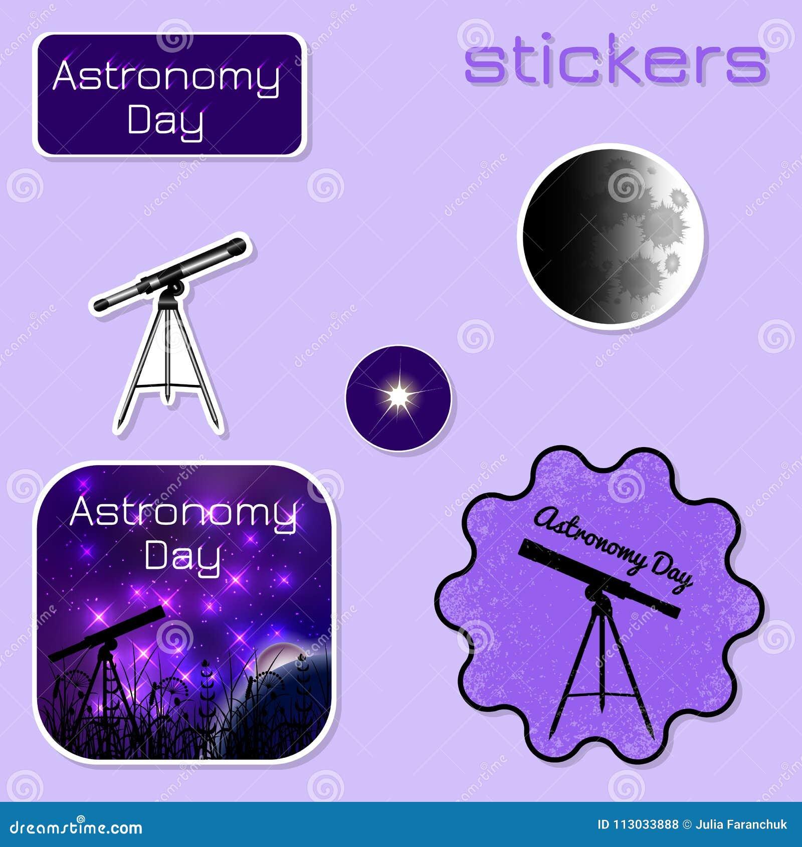 Día de la astronomía Etiquetas engomadas en sombras de la púrpura
