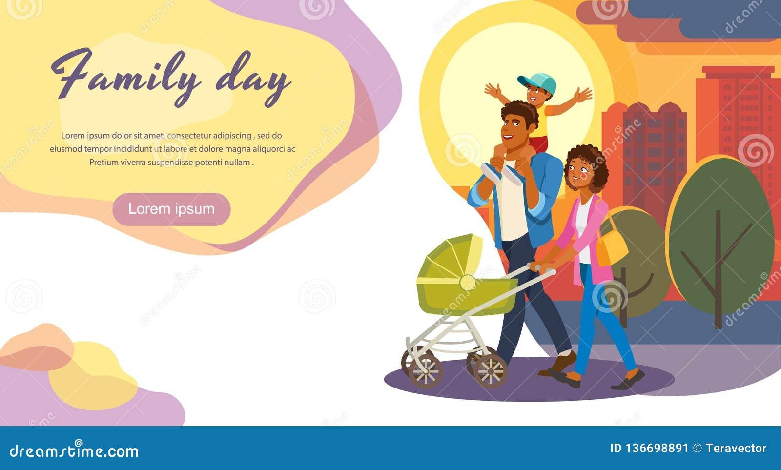 Día de la familia fuera de la página del aterrizaje del vector de la historieta