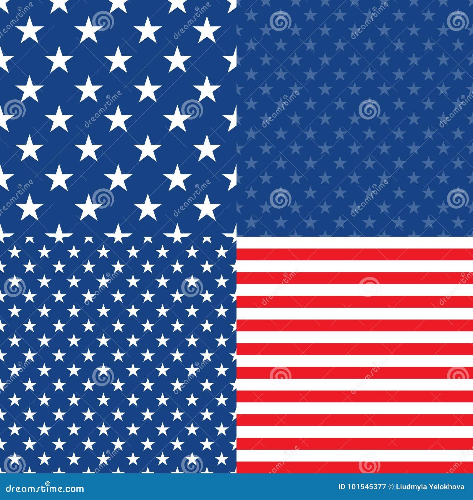 Día de la Independencia en los E.E.U.U. Conjunto de 4 modelos inconsútiles