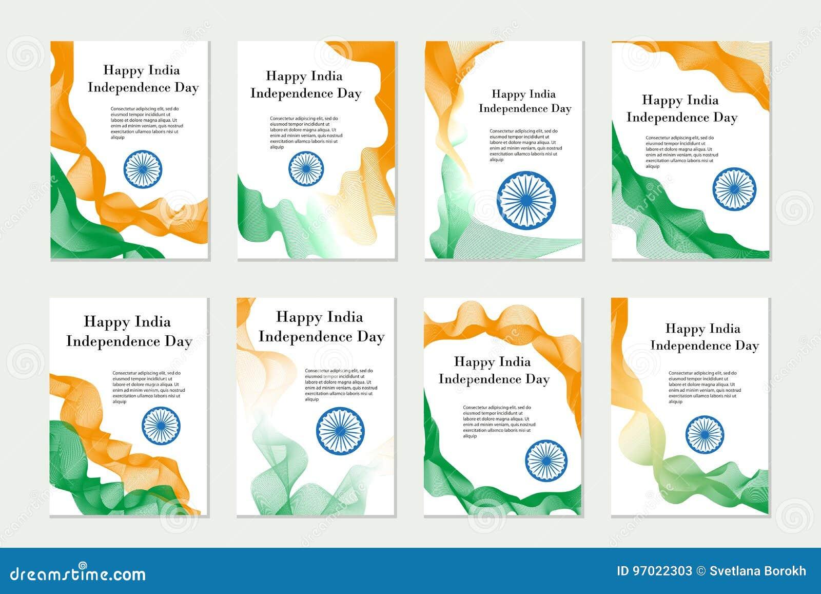 Día De La Independencia La India Sistema De Las Plantillas, Folletos ...