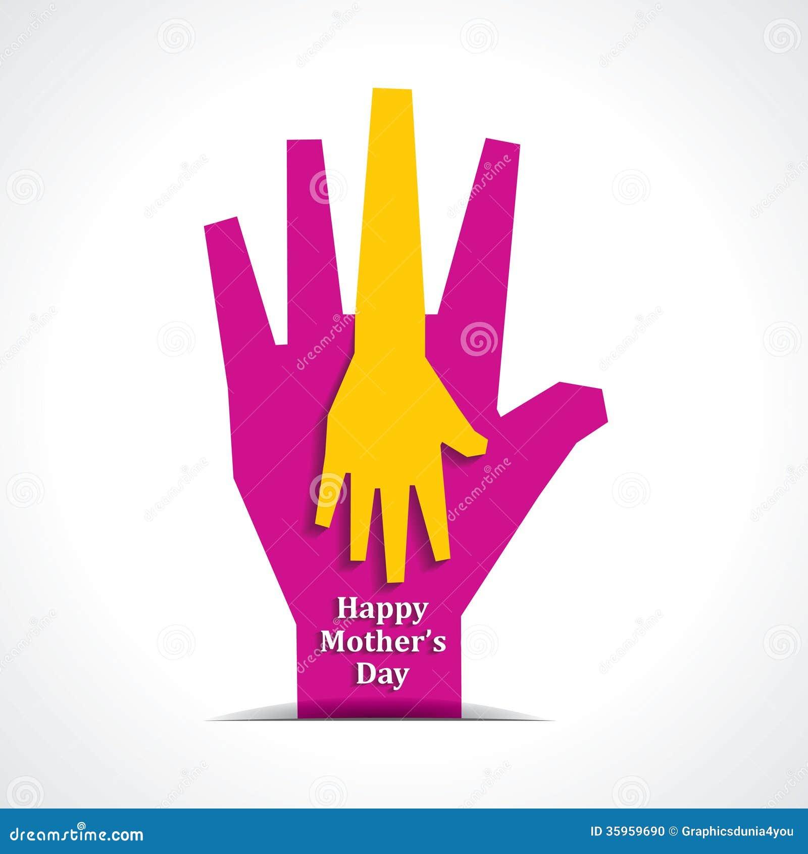 Día de madres feliz con dos manos de madre y de ji