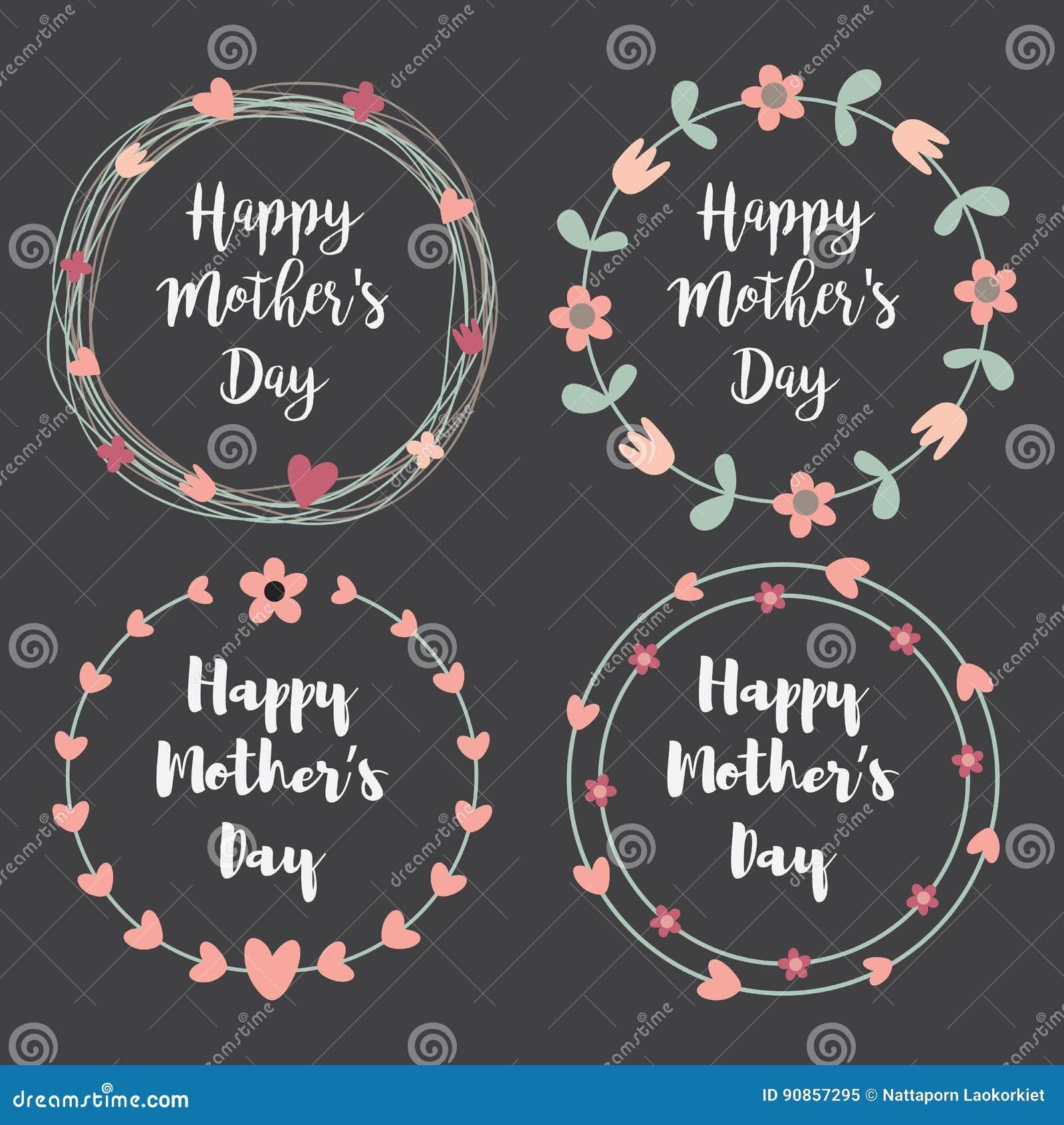 Día de madres feliz con el sistema de la tarjeta de felicitación de las flores Guirnalda del laurel, guirnalda floral Ilustración