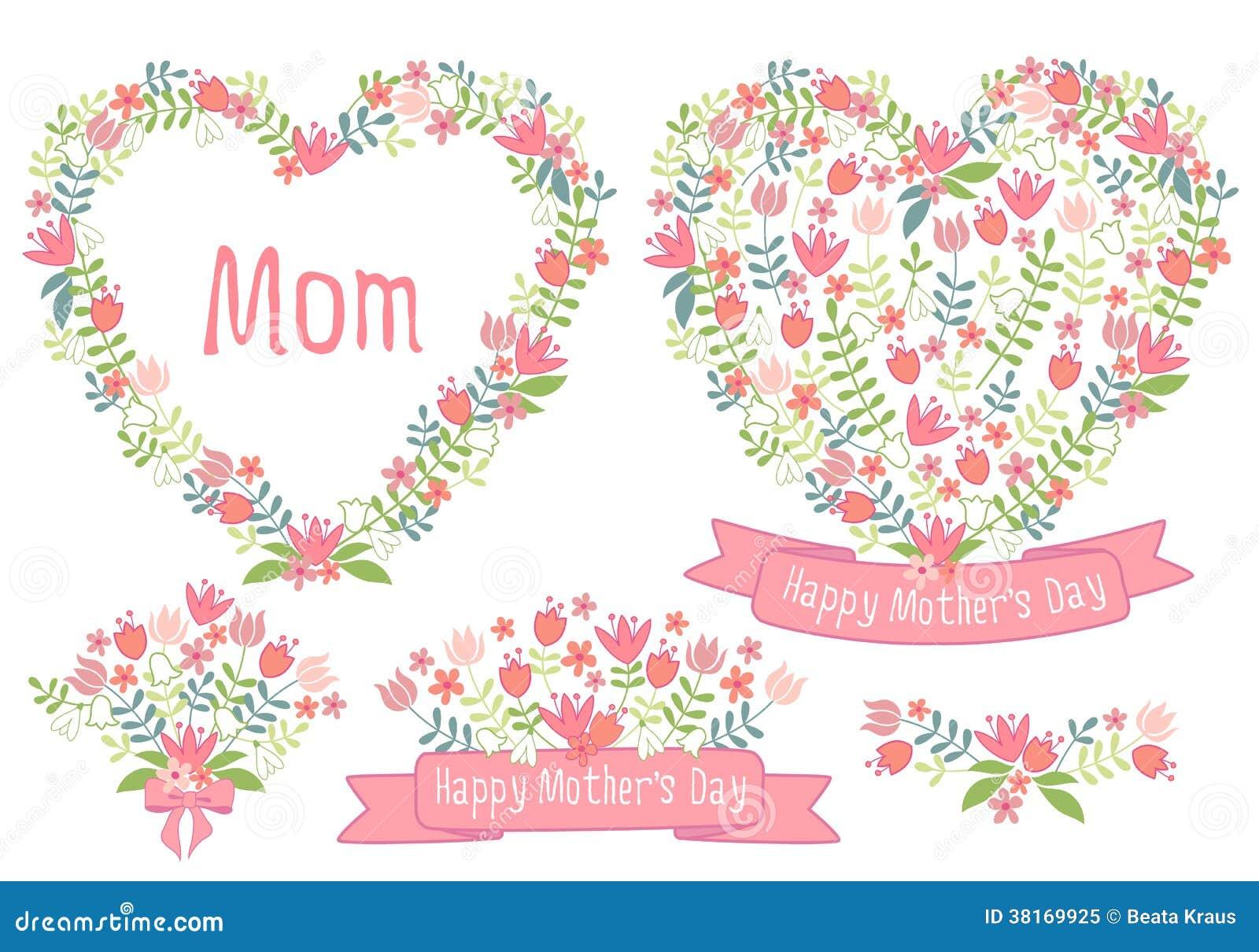 Día de madres feliz, corazones florales, sistema del vector