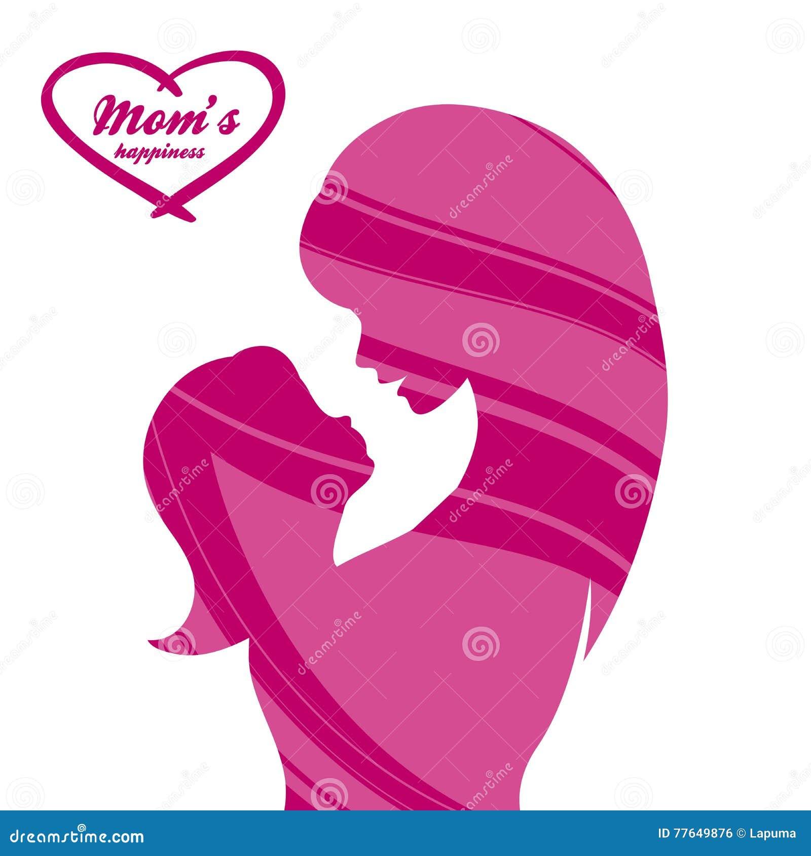 8386ec9b8 Día De Madres Feliz Maternidad Y Niñez Ejemplo Coloreado Ilustración ...