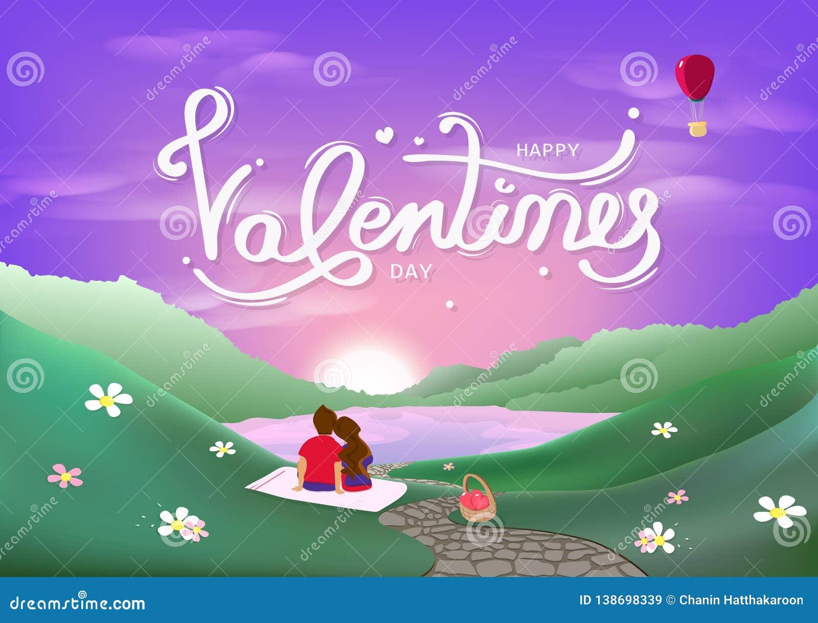 Día de San Valentín, felicidad del pastel romántico del amante, del concepto de la luna de miel, de la decoración de la caligrafí
