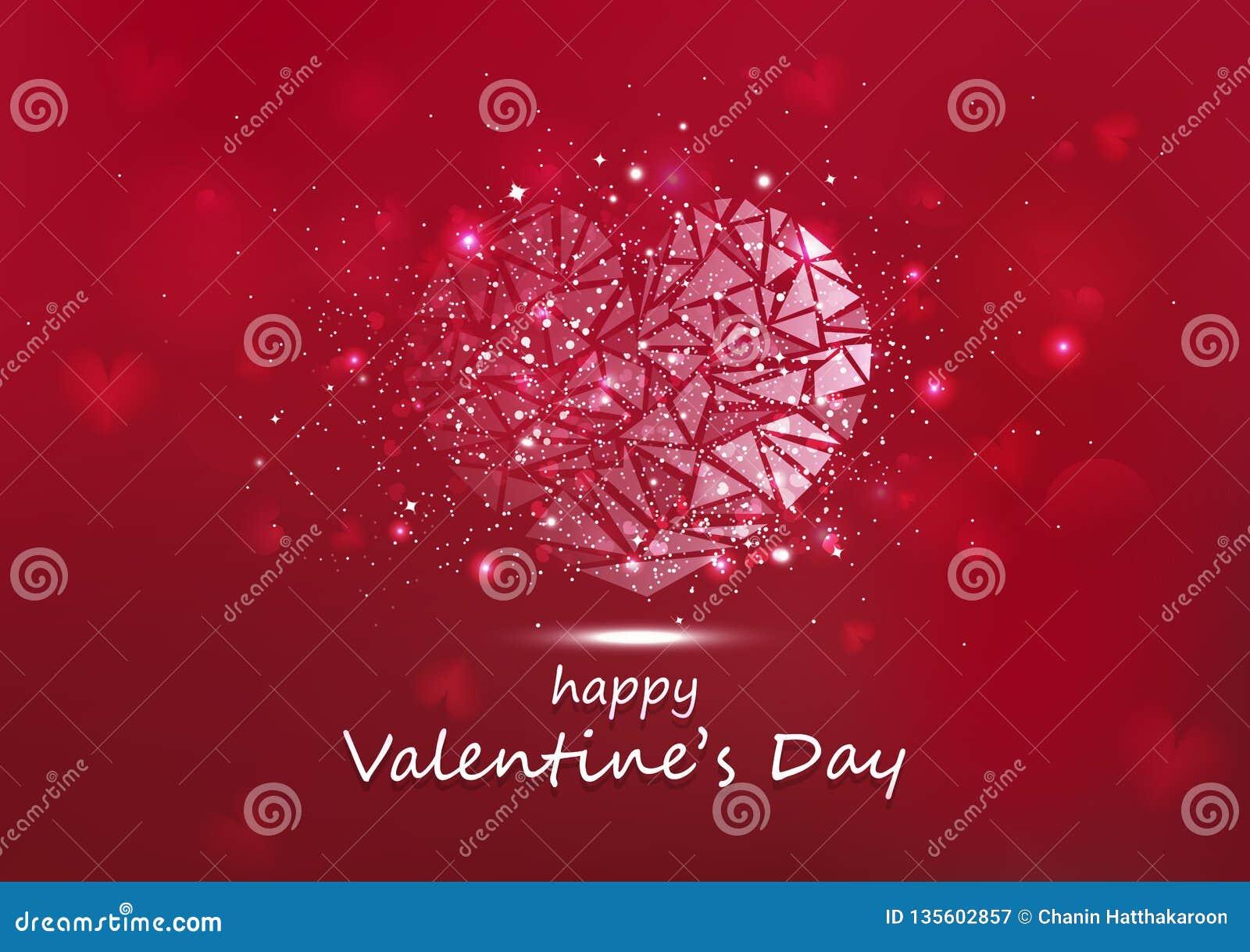 Día de San Valentín, polígono que brilla intensamente del corazón protagoniza el ejemplo estacional del vector del día de fiesta