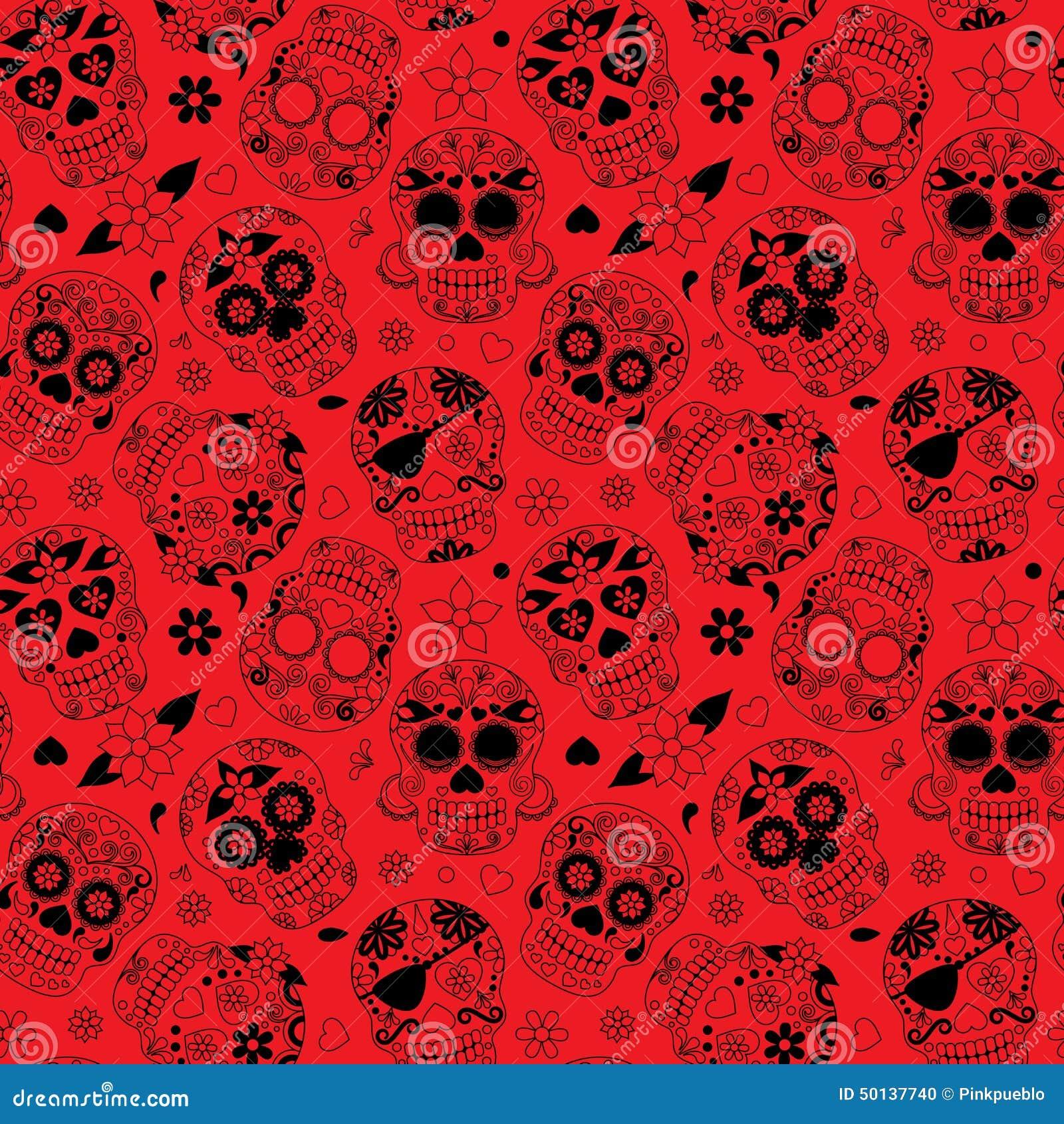 Día de Sugar Skull Seamless Vector Background muerto