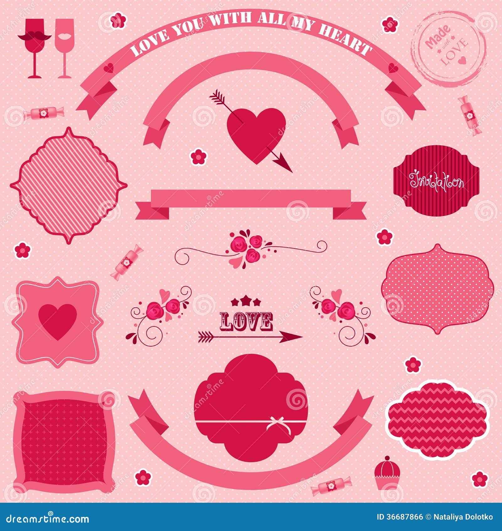 Día de tarjetas del día de San Valentín de las banderas y de los iconos del vector.