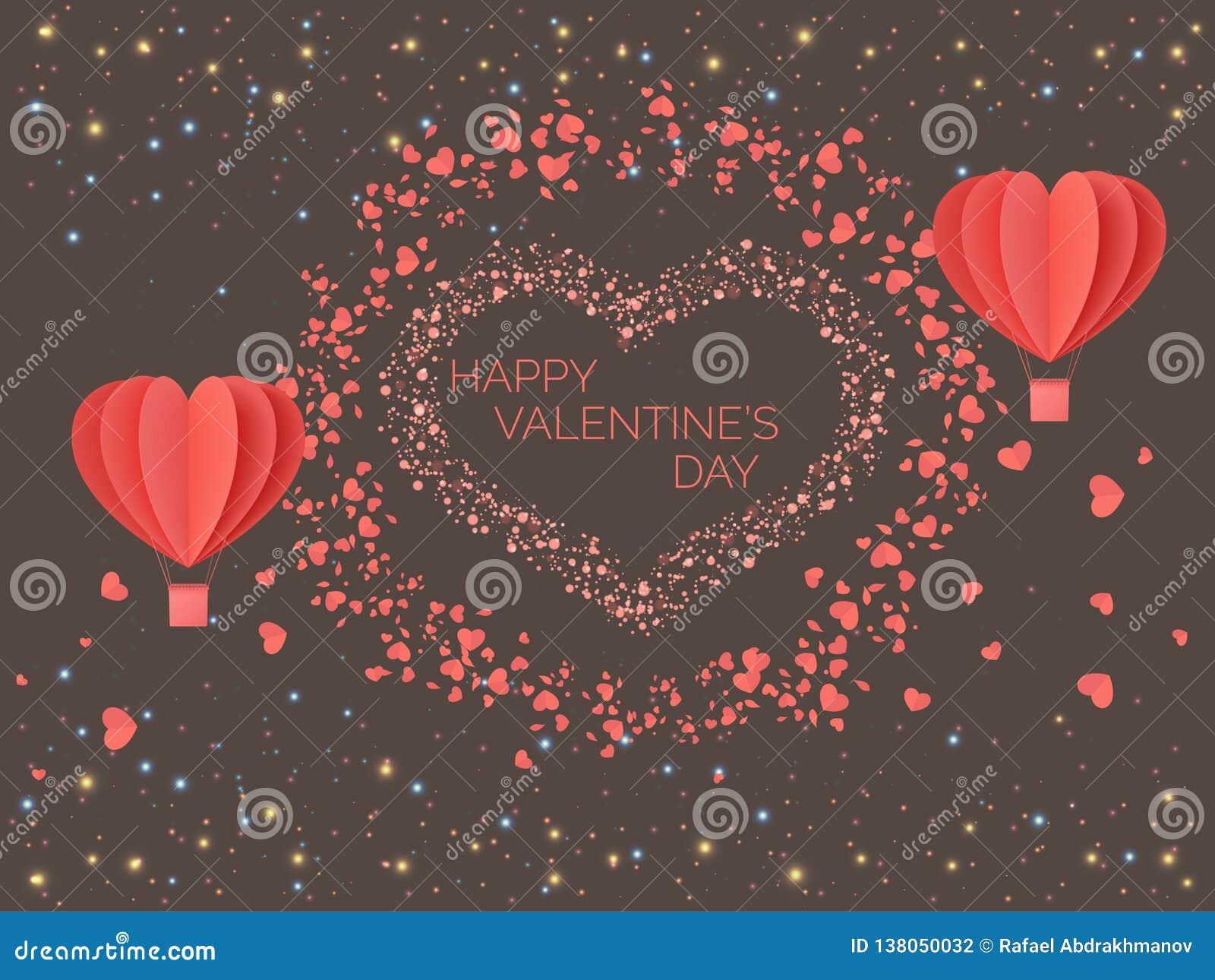 Día de tarjetas del día de San Valentín feliz Corazones coloreados coralinos rojos bajo la forma de globos contra la perspectiva