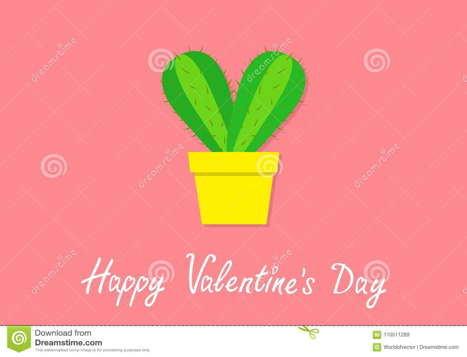 Día de tarjetas del día de San Valentín feliz Icono del corazón del cactus en maceta Planta espinosa prikly espinosa del desierto