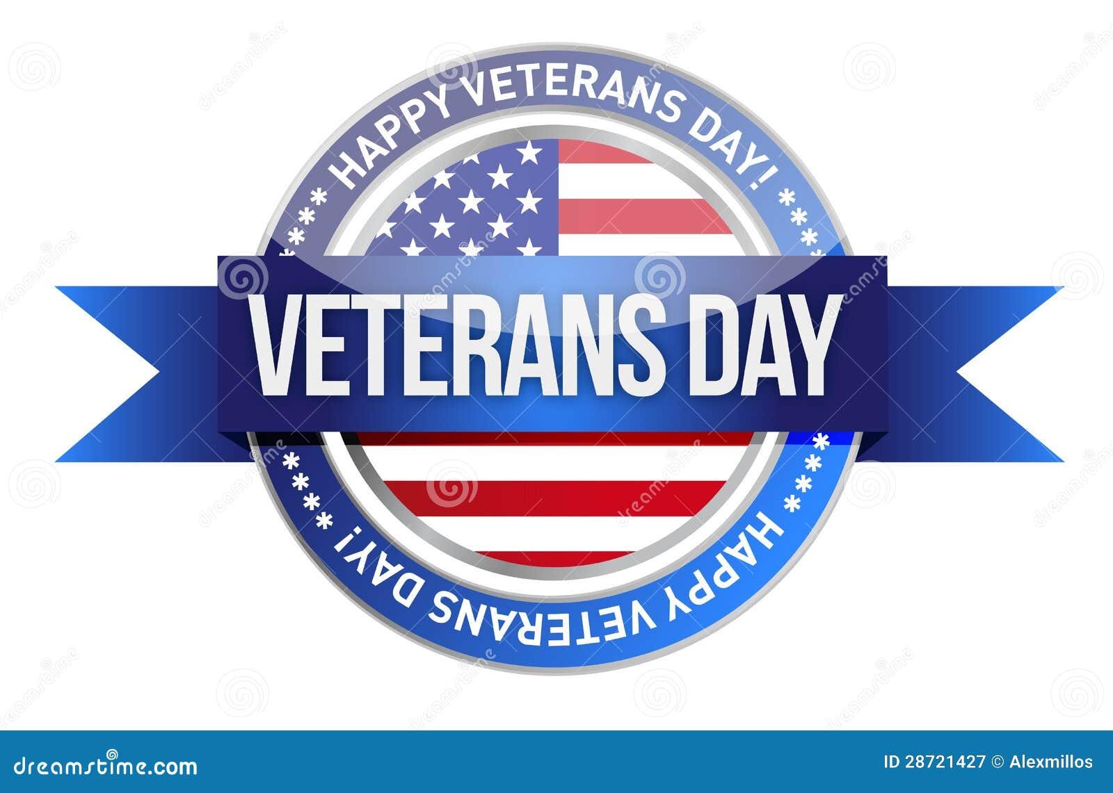 Día de veteranos. nosotros sello y bandera