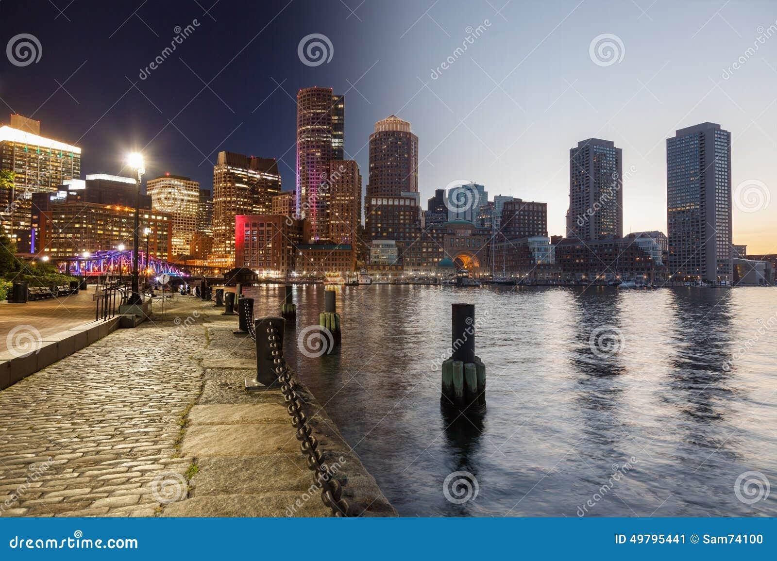 Día del horizonte de Boston al montaje de la noche - Massachusetts - los E.E.U.U. - unidad