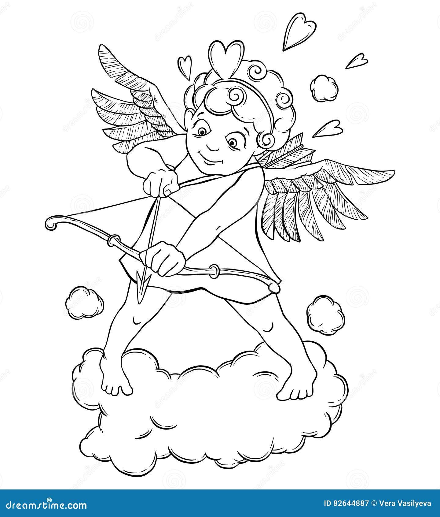 Día Del `s De La Tarjeta Del Día De San Valentín El Cupido Con Un ...