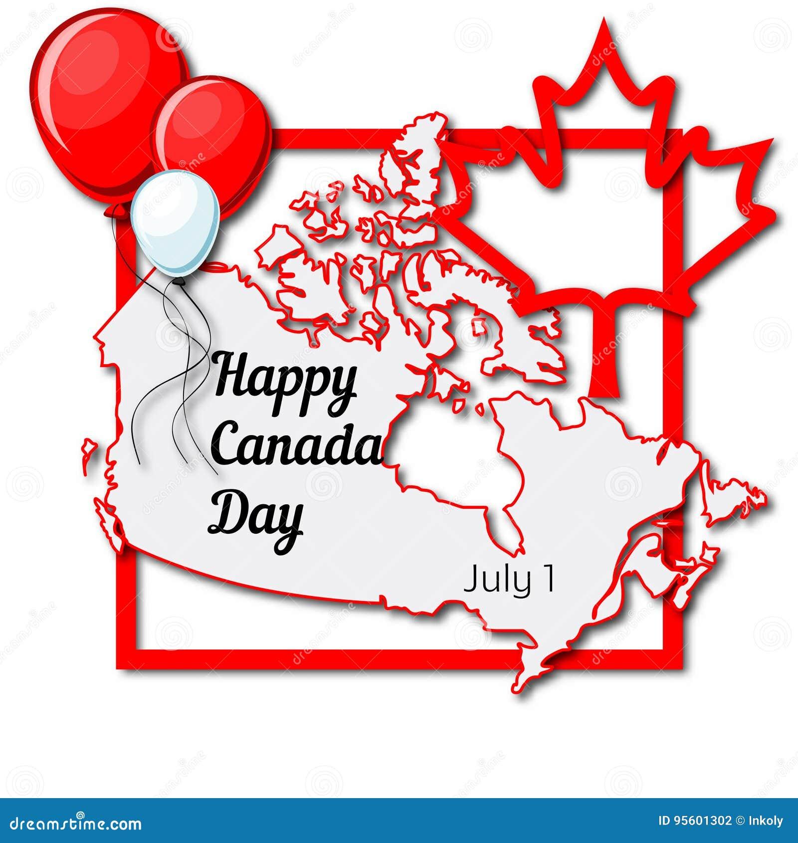 Día Feliz De Canadá, El 1 De Julio, Plantilla De La Tarjeta De ...