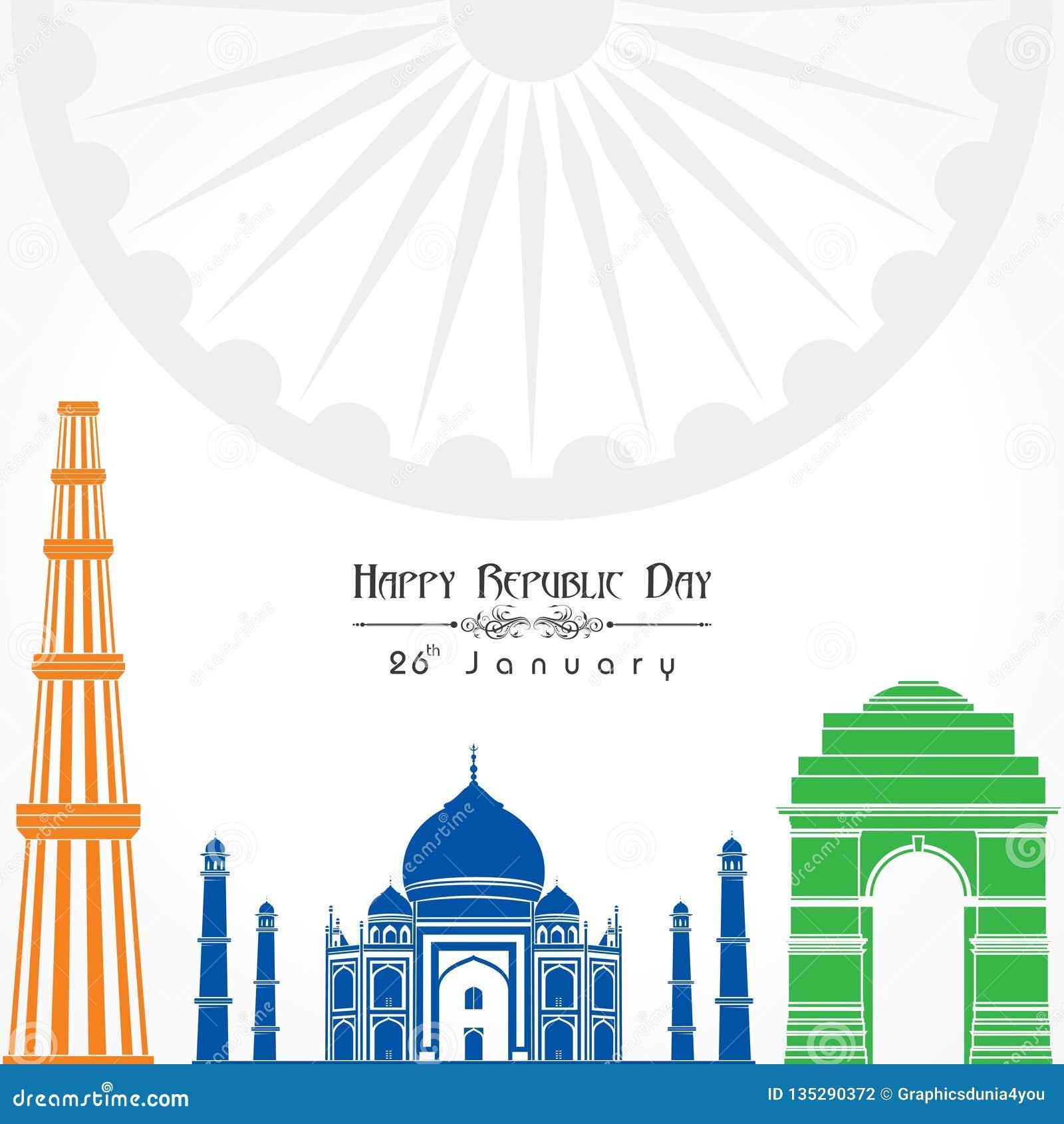 Día feliz de la república de vector del ejemplo de la India, diseño del cartel
