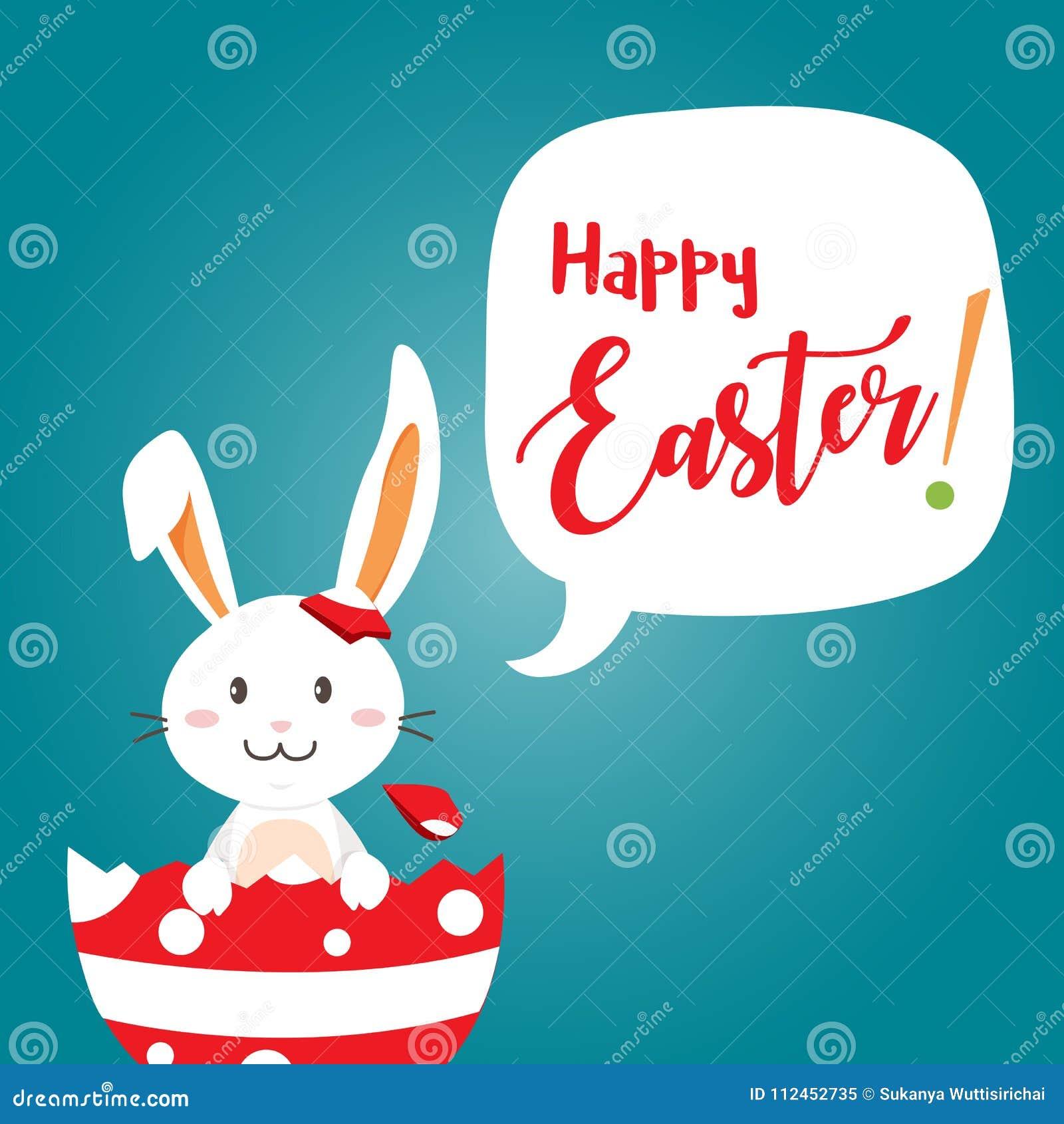 Día feliz de pascua con el conejo blanco de Pascua