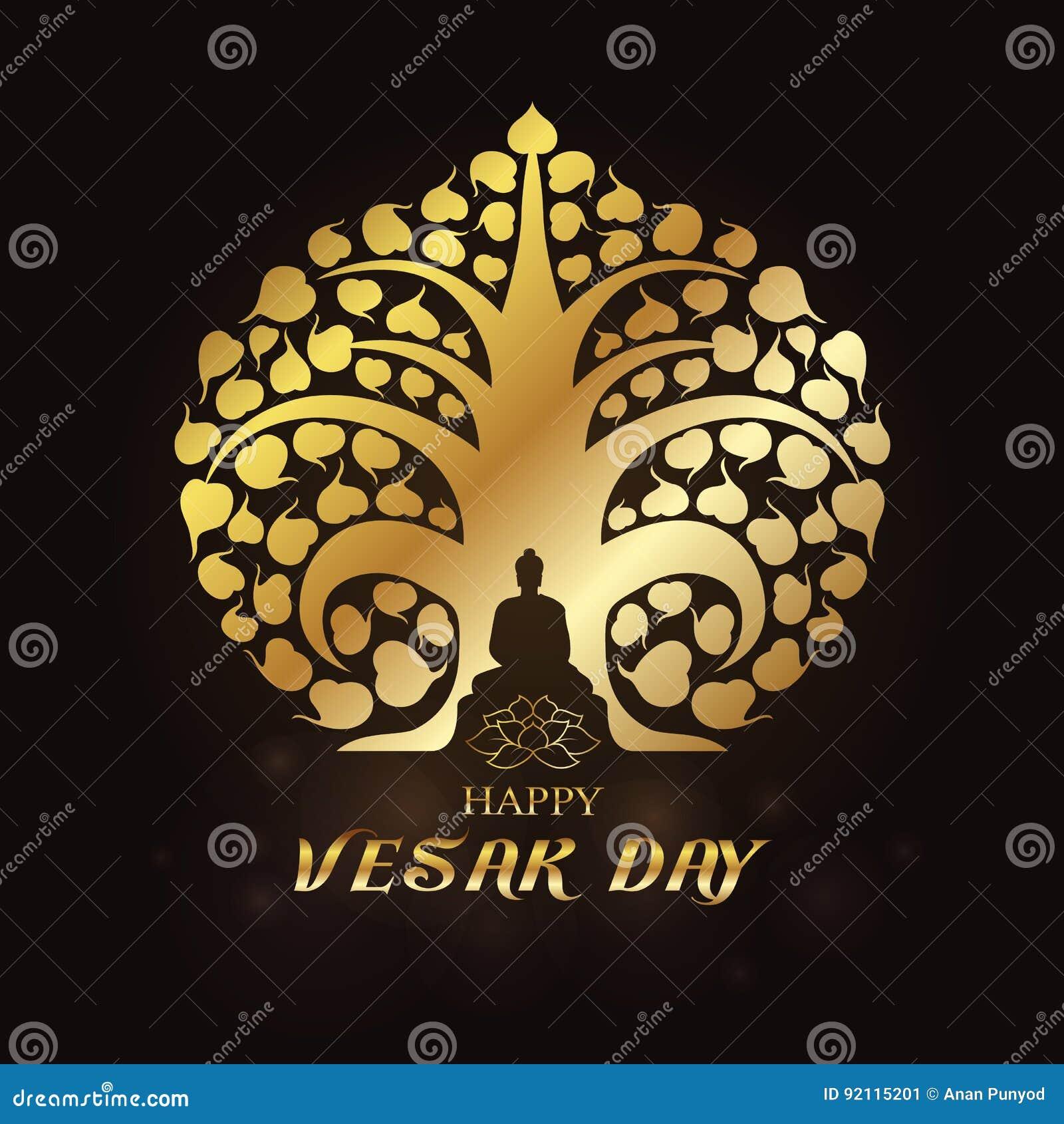 Día feliz de Vesak - el oro Buda bajo vector del arte del árbol y del loto de Bodhi diseña