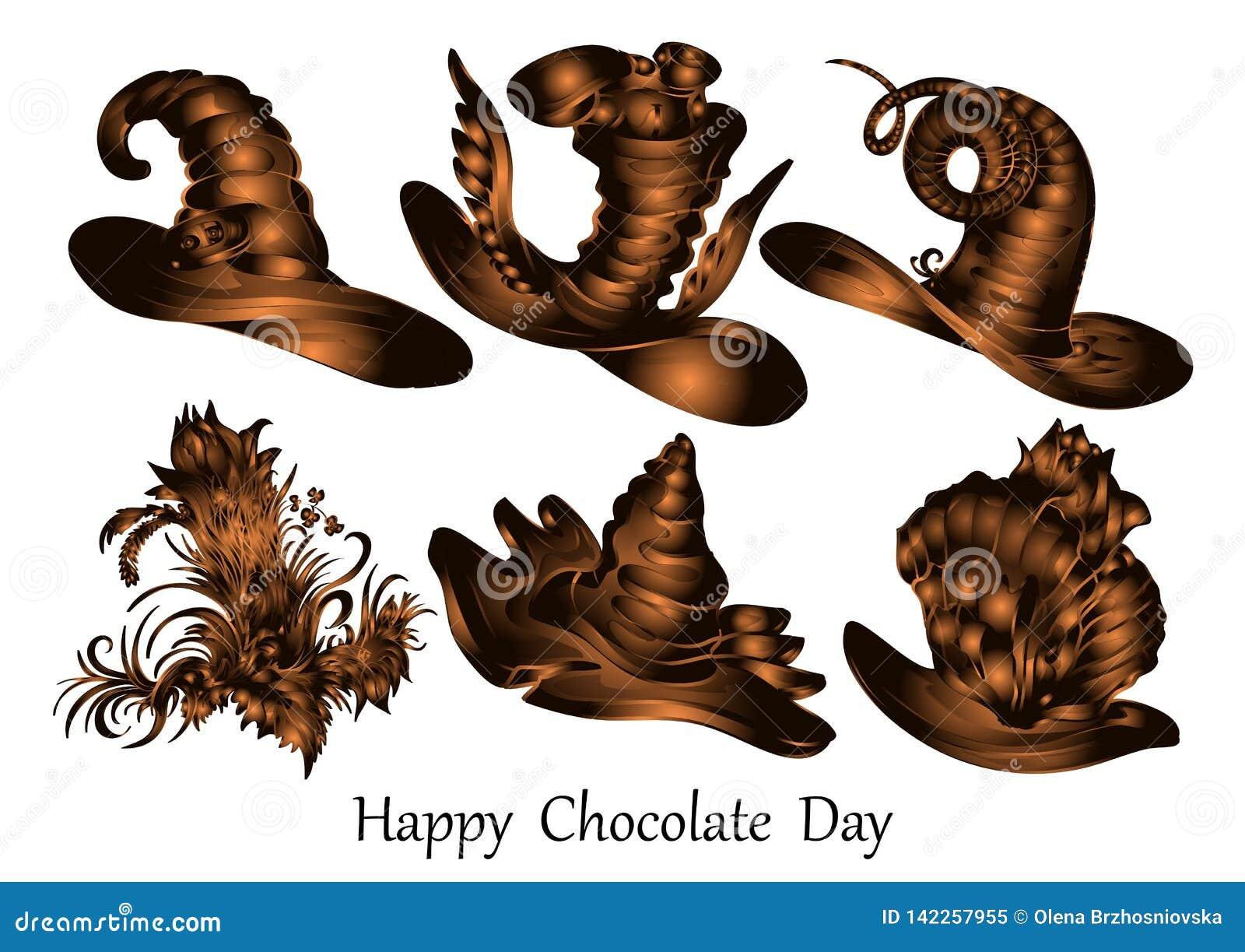 Día feliz del chocolate, diseño del vector, figuras del chocolate