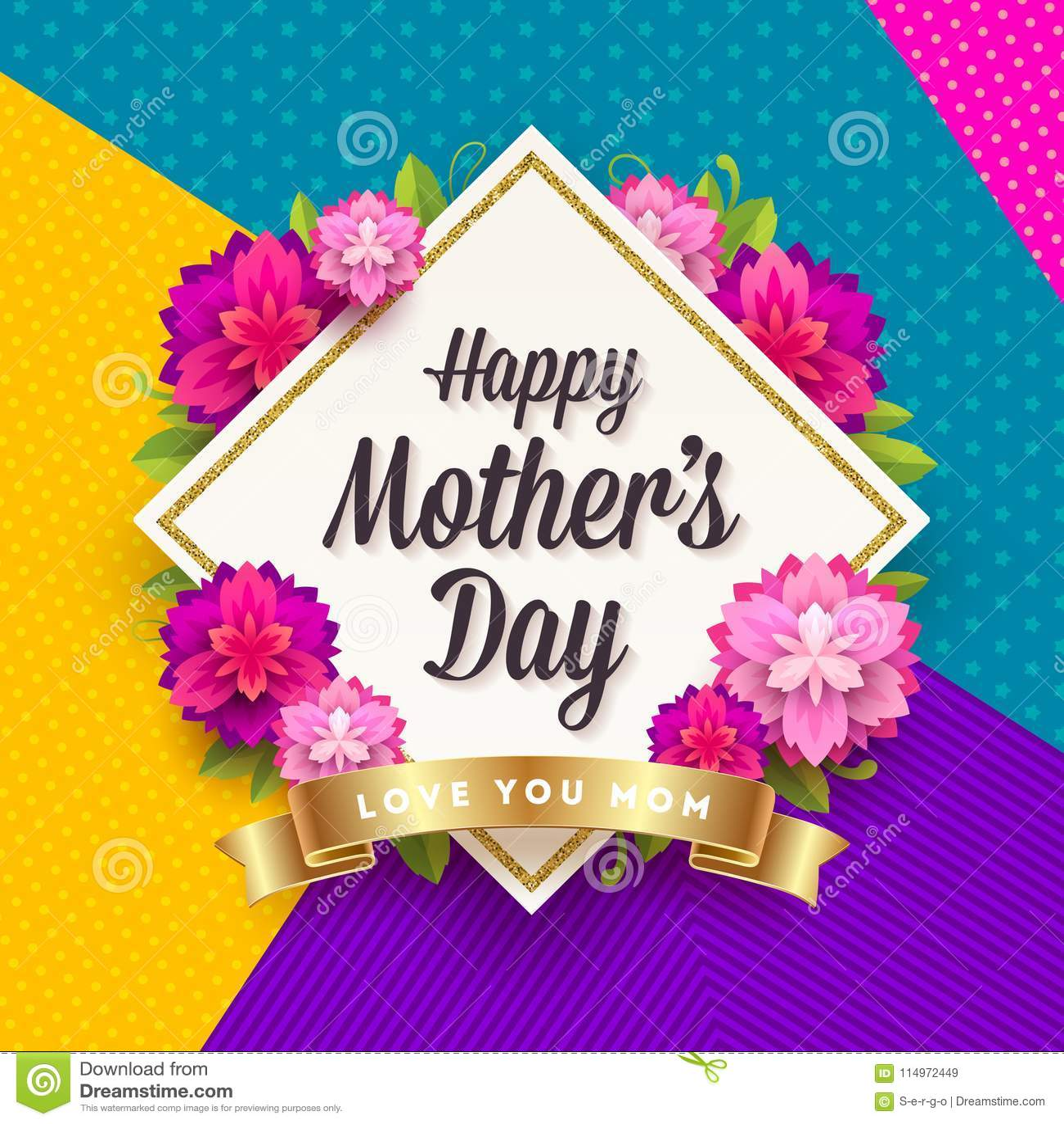 Día feliz del ` s de la madre - tarjeta de felicitación Capítulo con el saludo, las flores y la cinta de oro en un fondo del mode