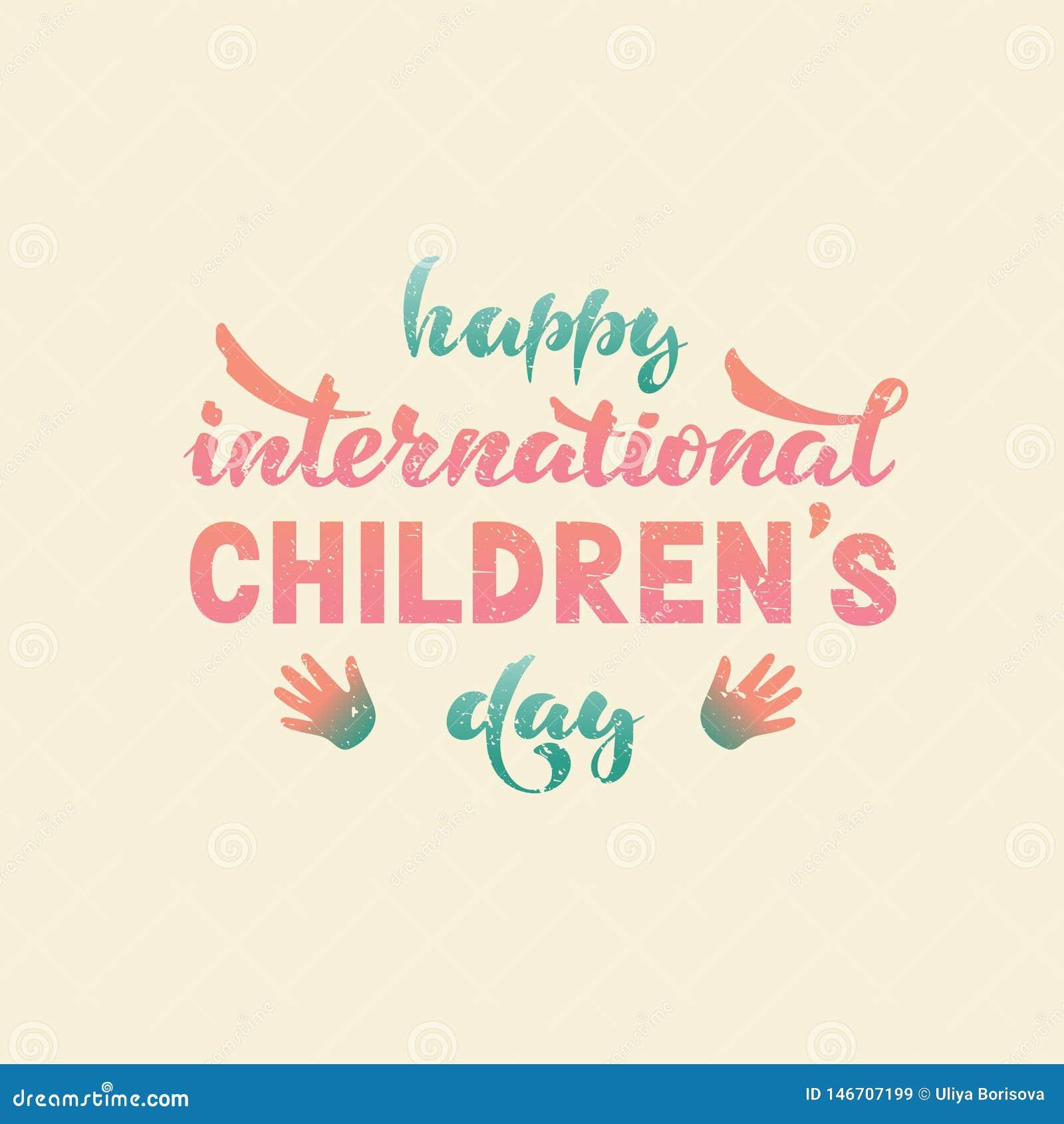 Día Internacional Feliz De Los Niños S Vector Deletreado