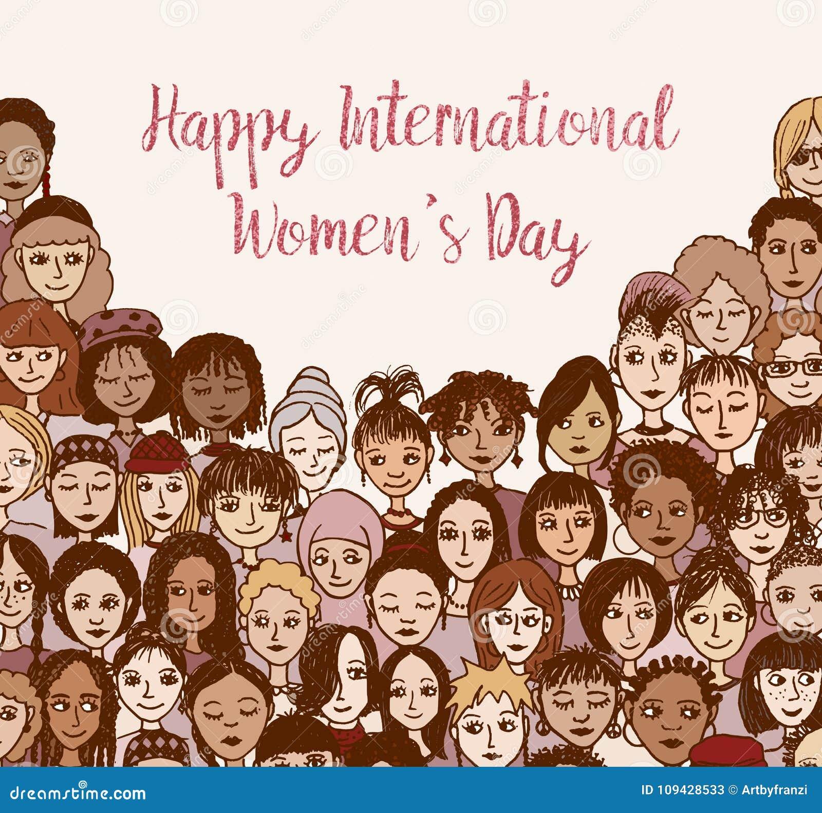 Día internacional feliz del ` s de las mujeres - dé las caras exhaustas del garabato