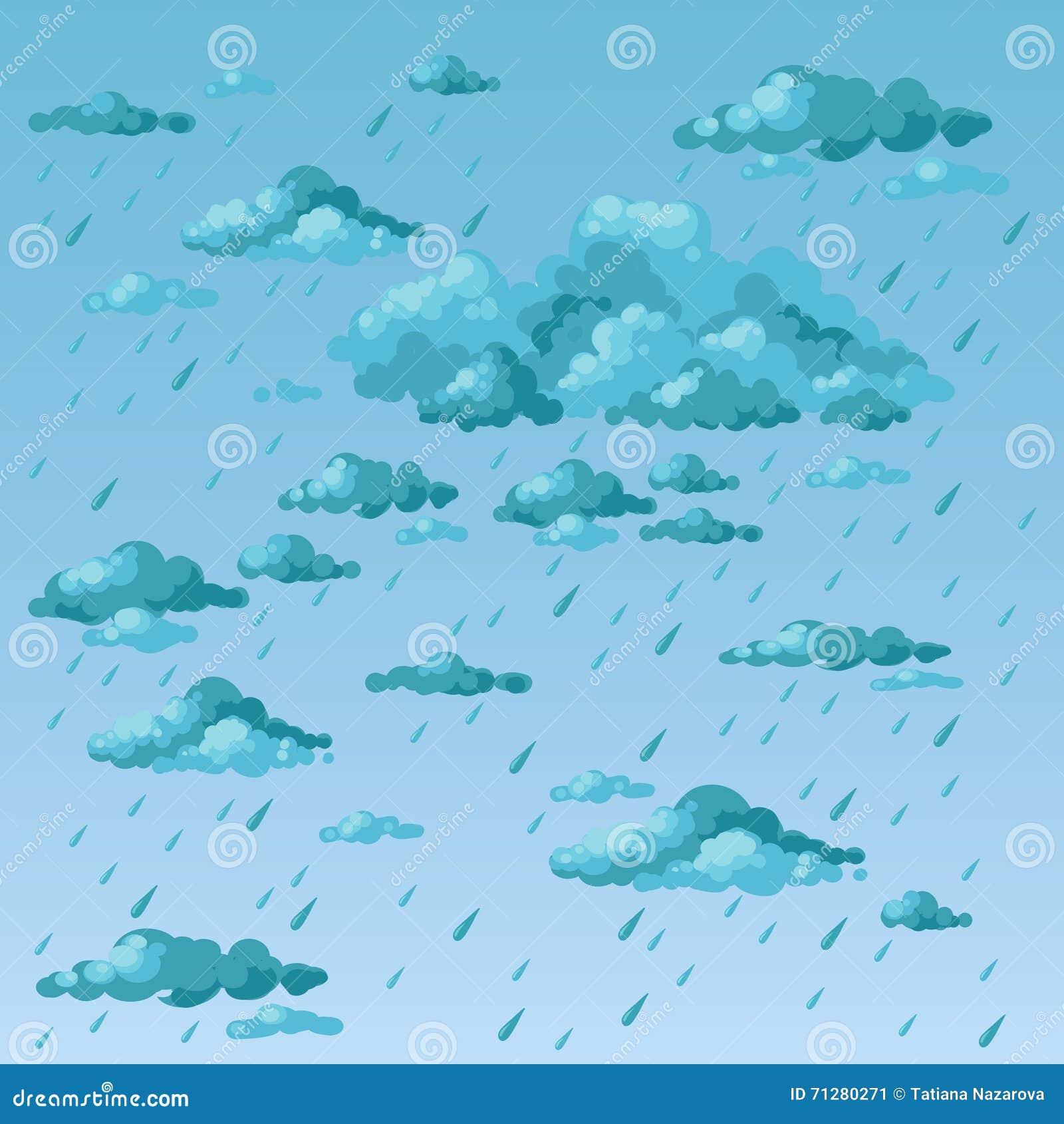 Día Lluvioso Nubes Y Lluvia Stock de ilustración - Ilustración de ...