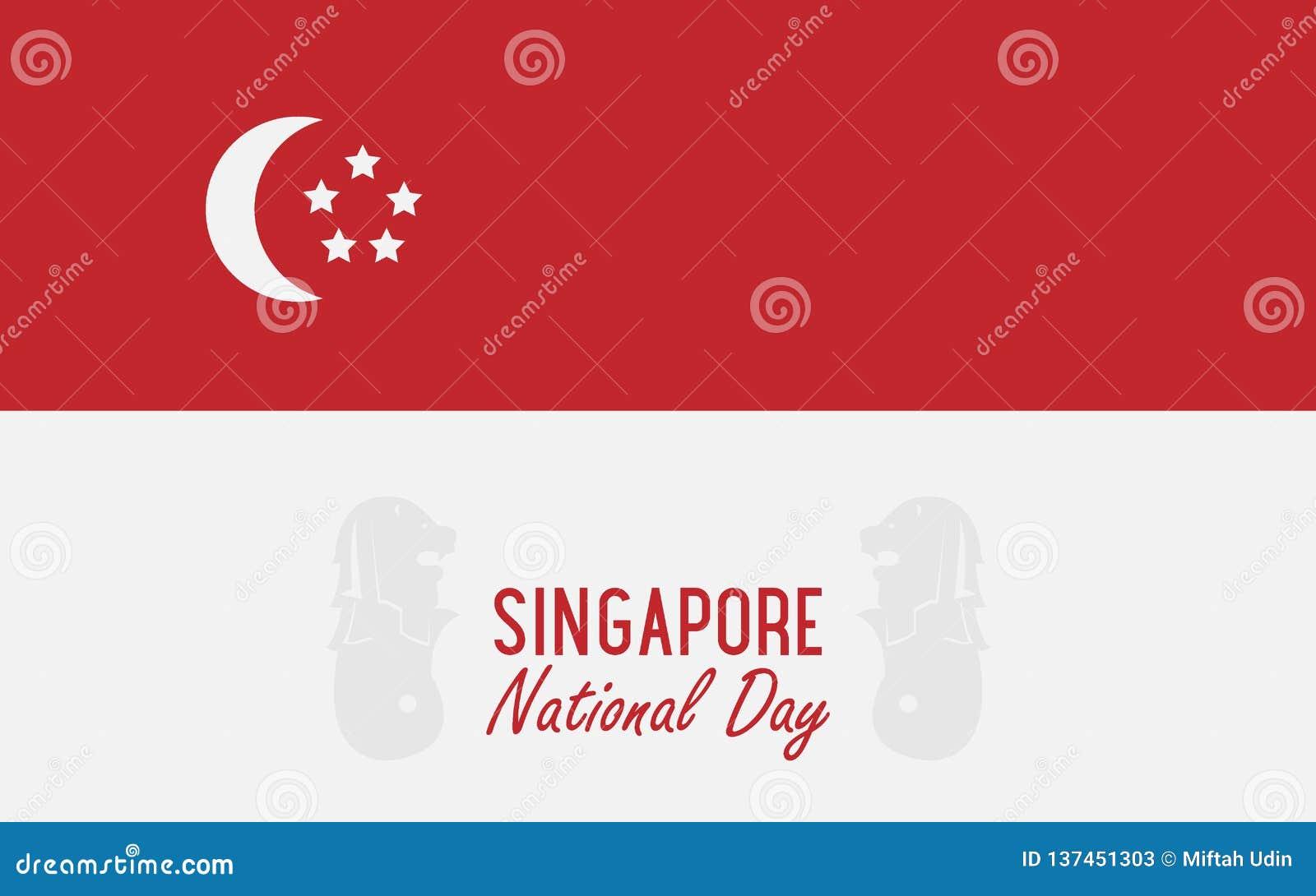 Día nacional de Singapur de la bandera del ejemplo