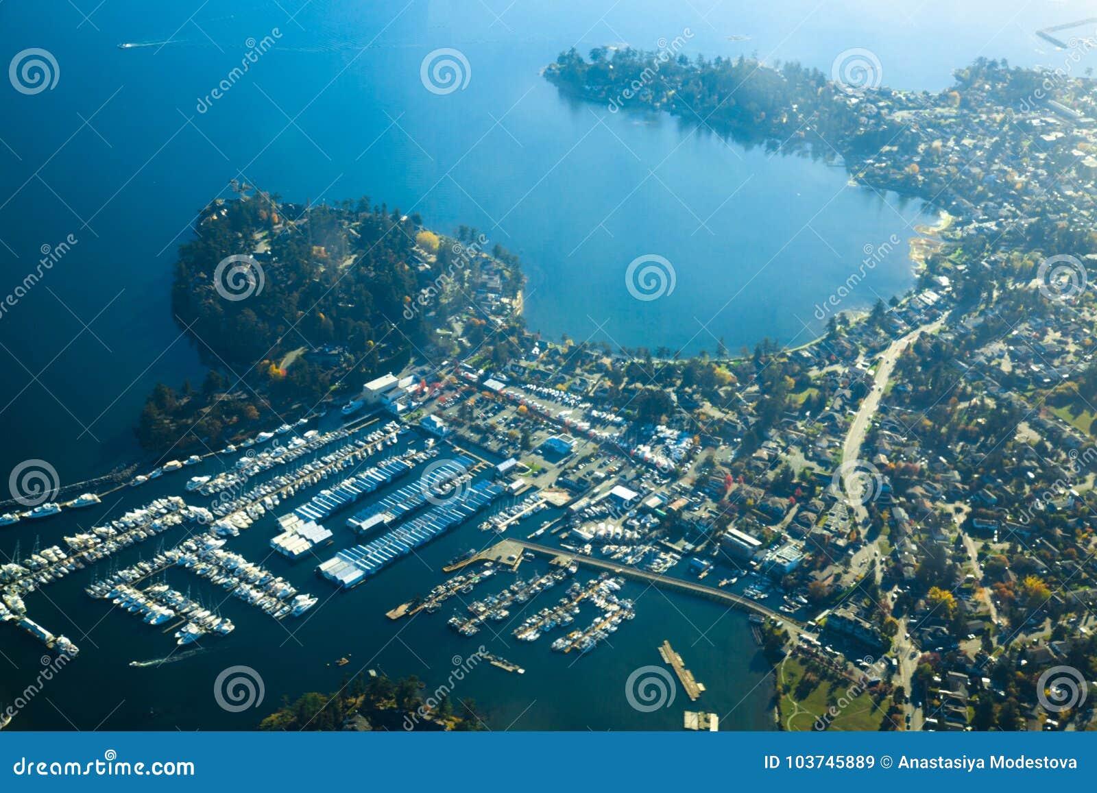 Día soleado aéreo de Victoria de la isla de Vancouver